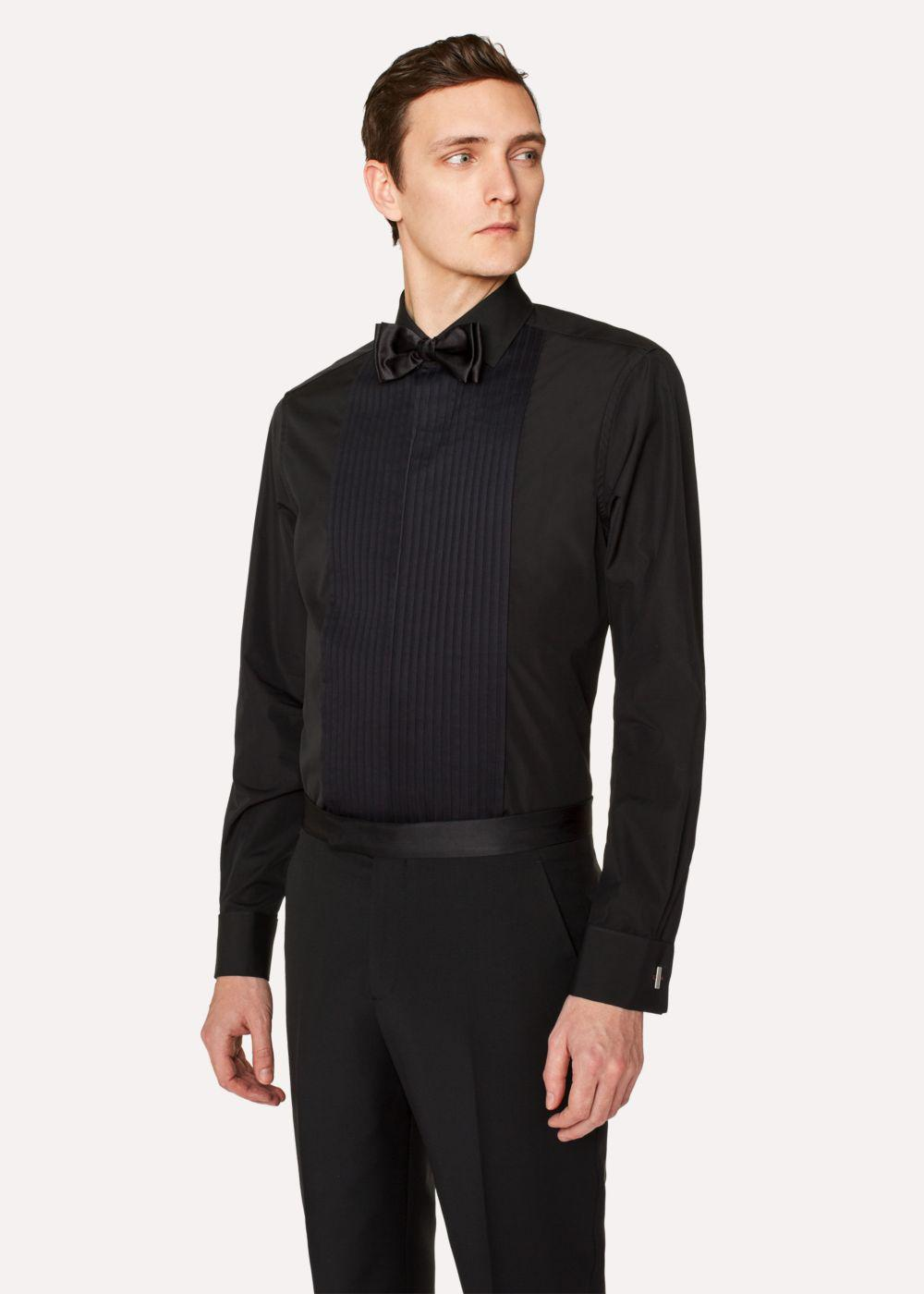 Paul smith men 39 s tailored fit black pleat front cotton for Mens dress shirts with cufflink holes