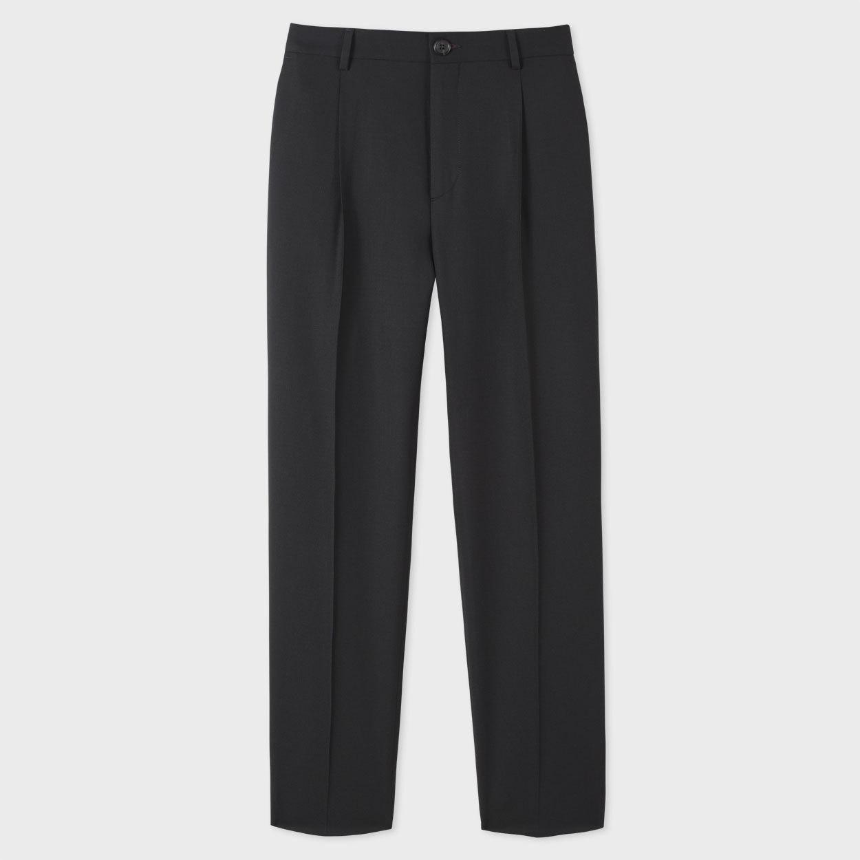 Paul Smith Fur Men's Slim-fit Black Wool Pleated Trousers for Men