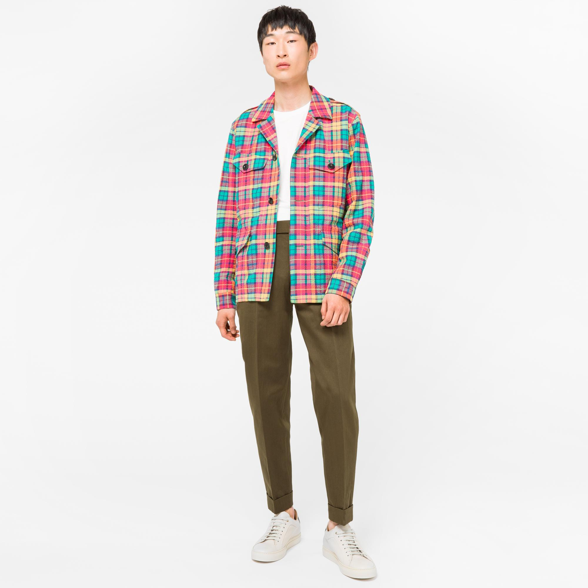 Paul Smith Cotton Men's Four Pocket Madras Check Field Jacket for Men