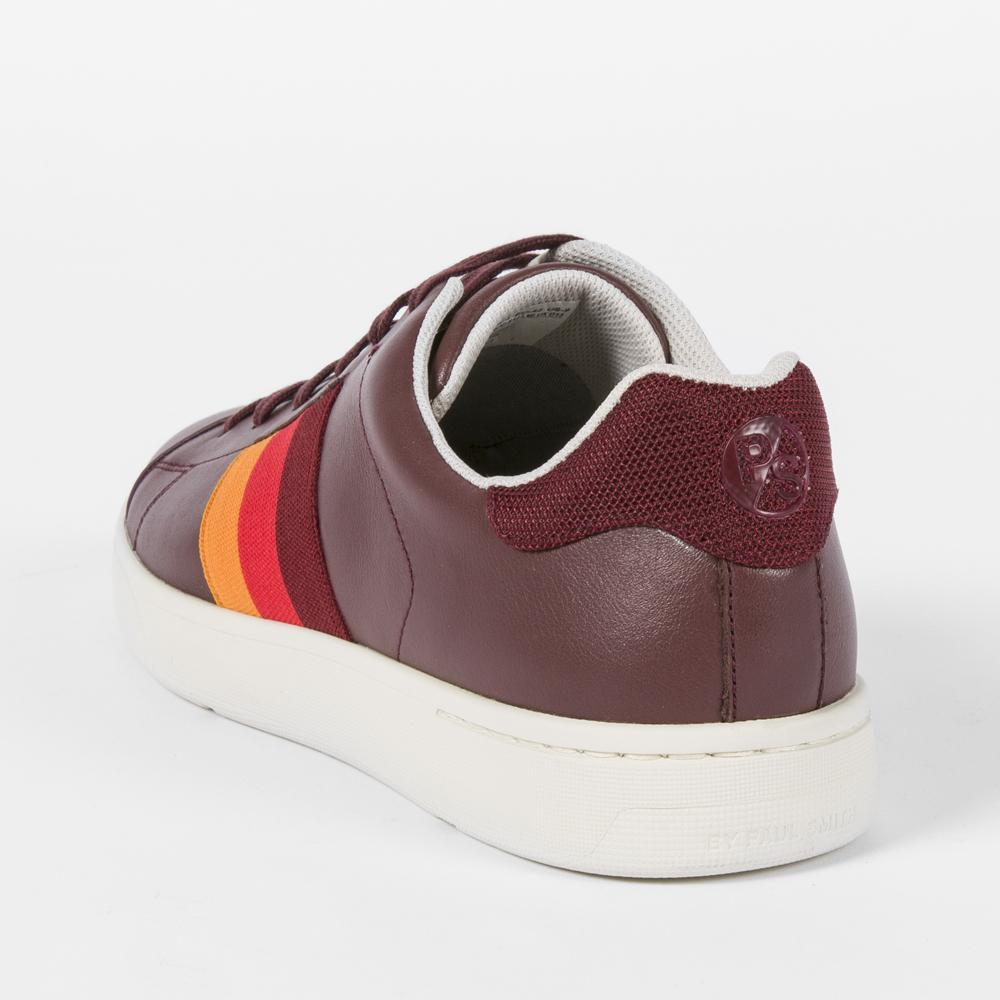 Paul Smith Burgundy Leather 'Lawn' Trainers for Men