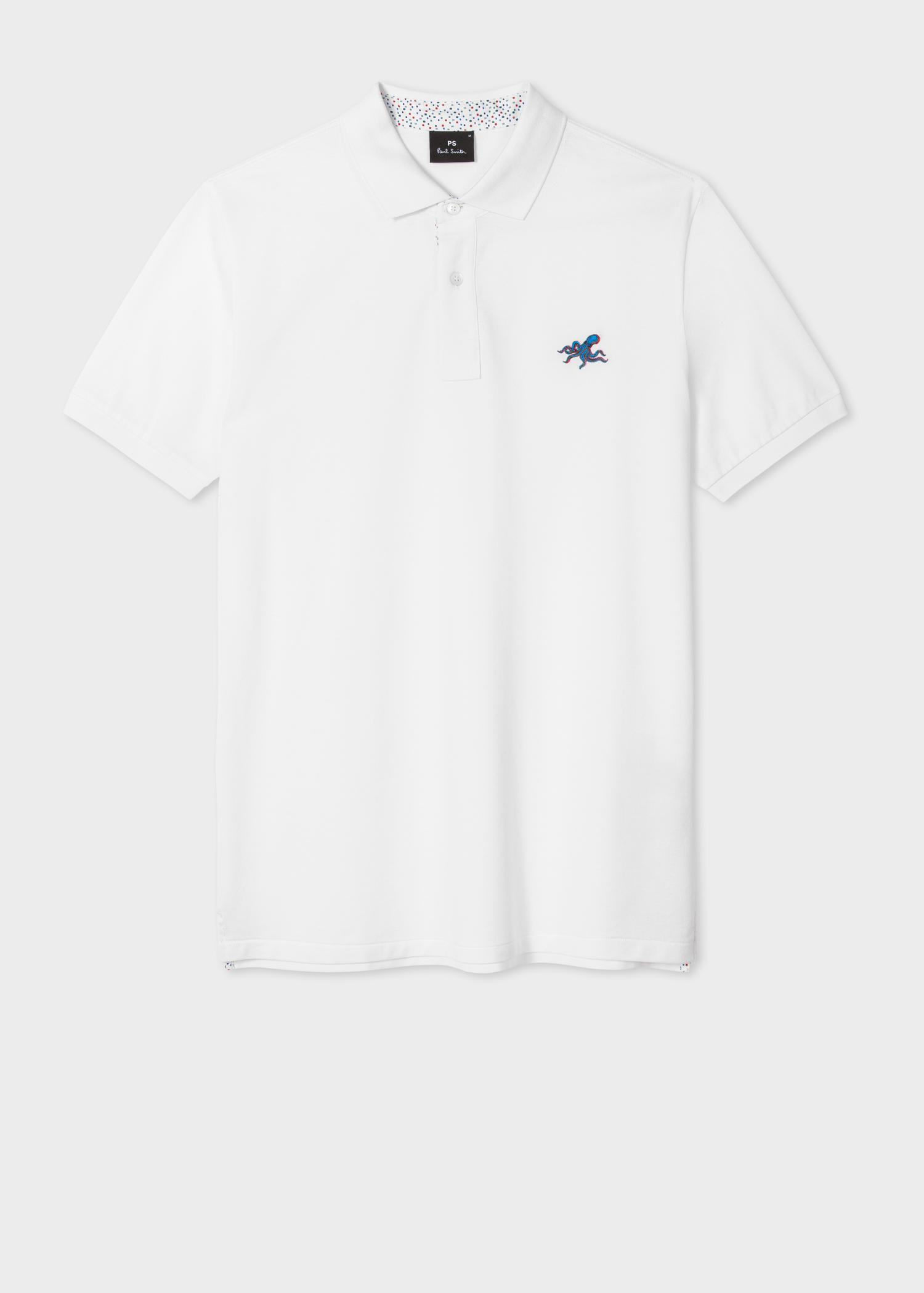 White Embroidered 'Octopus' Polo Shirt