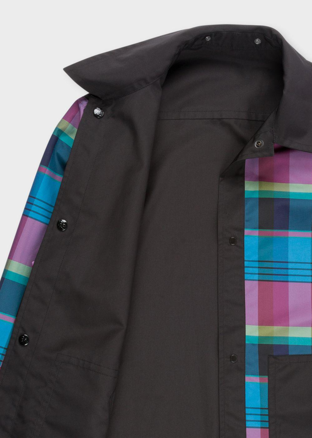 Paul Smith Synthetic Men's Black And Multi-Coloured Check Reversible Long Coach Jacket for Men