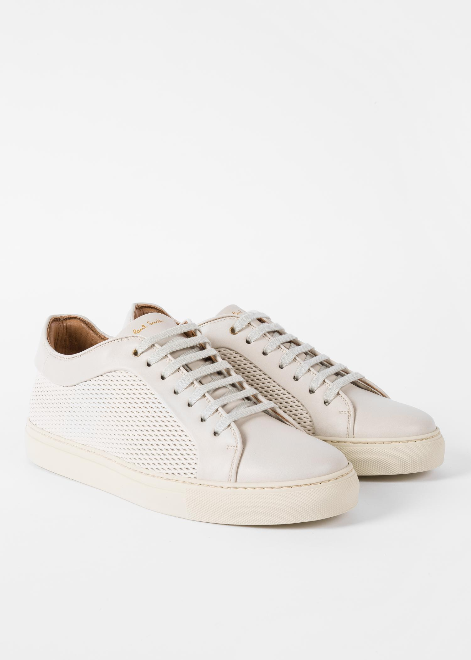 Paul Smith Men's Off-white Mesh-effect Leather 'basso' Trainers