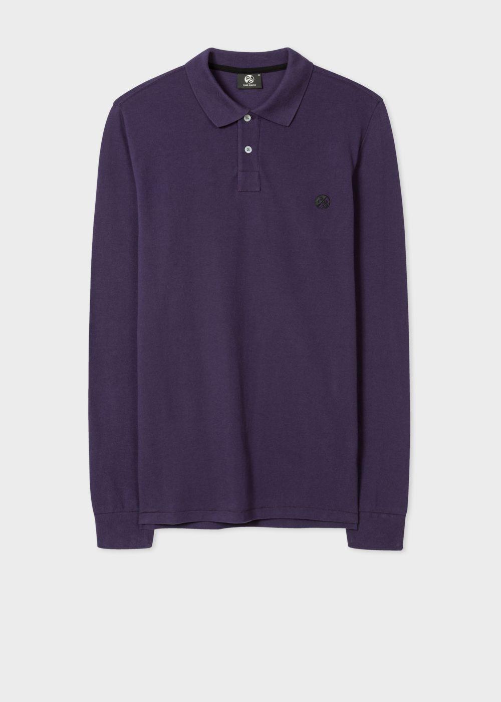 Paul smith men 39 s purple ps logo long sleeve polo shirt in for Long sleeve purple polo shirt