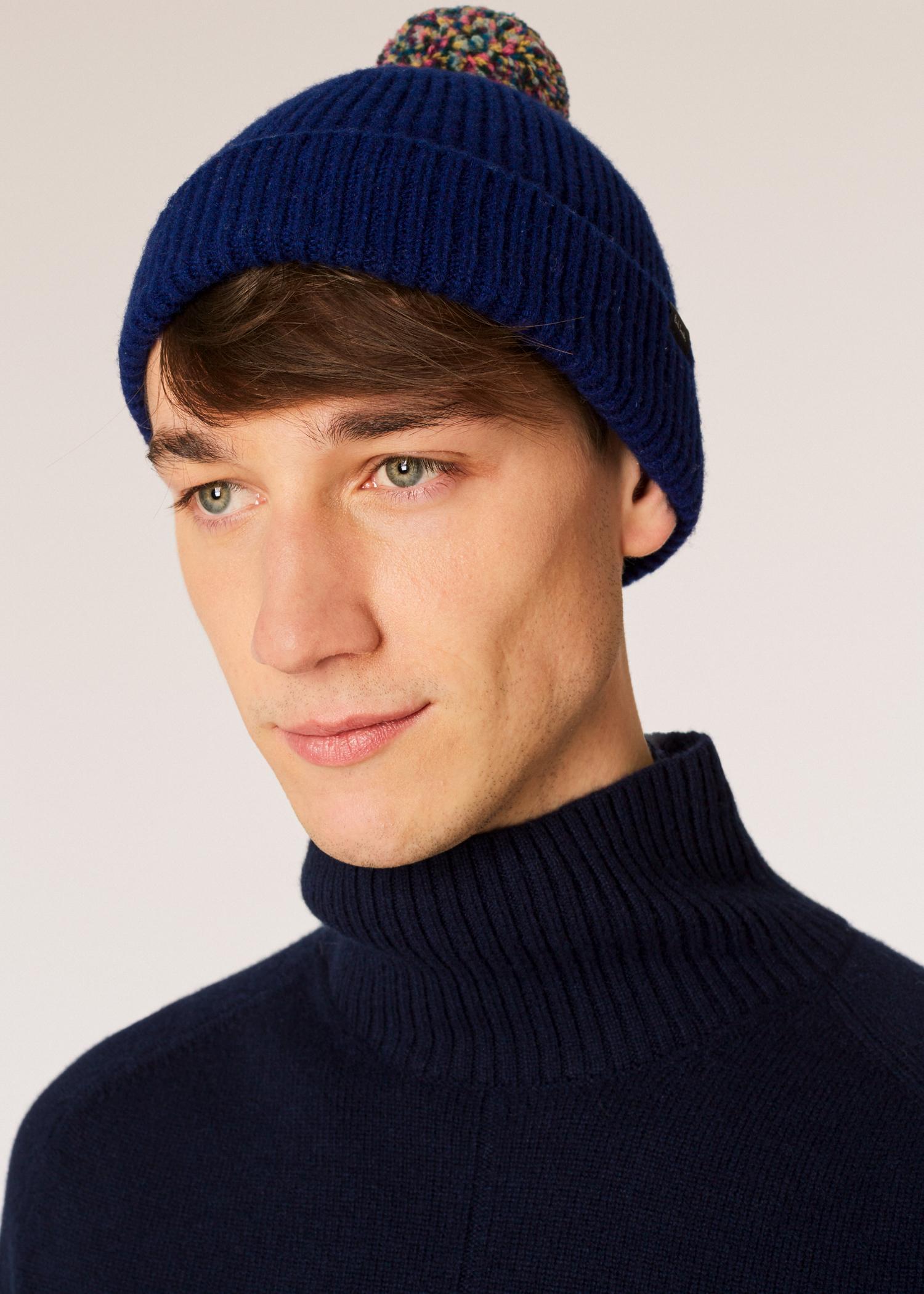 Paul Smith - Blue Navy Pom-pom Wool Beanie Hat for Men - Lyst. View  fullscreen e9ba08c1996d