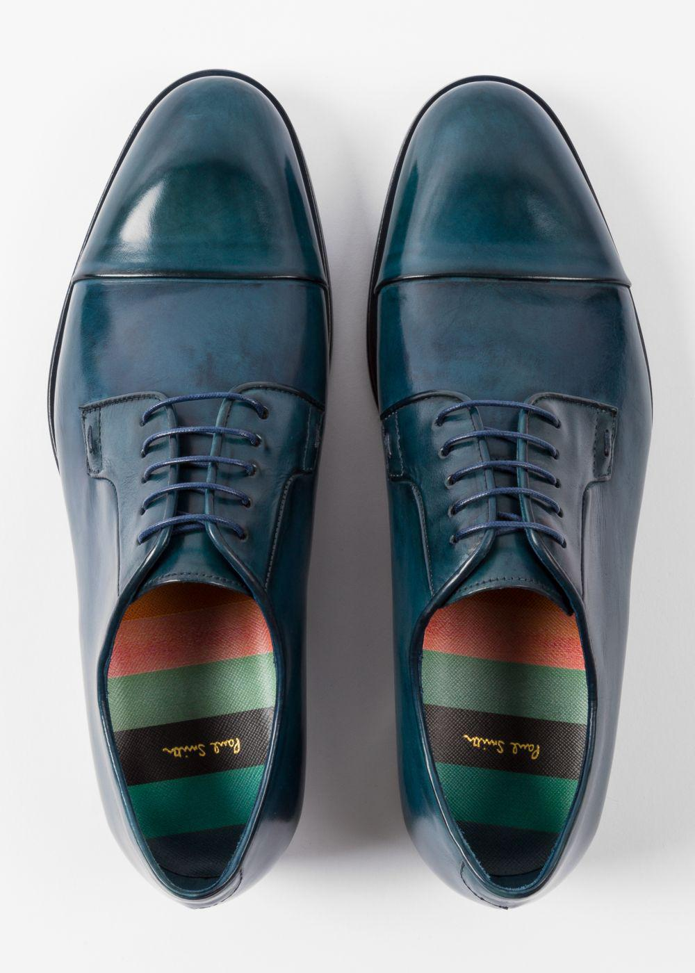 Paul Smith Men S Teal Calf Leather Ernest Shoes In Blue