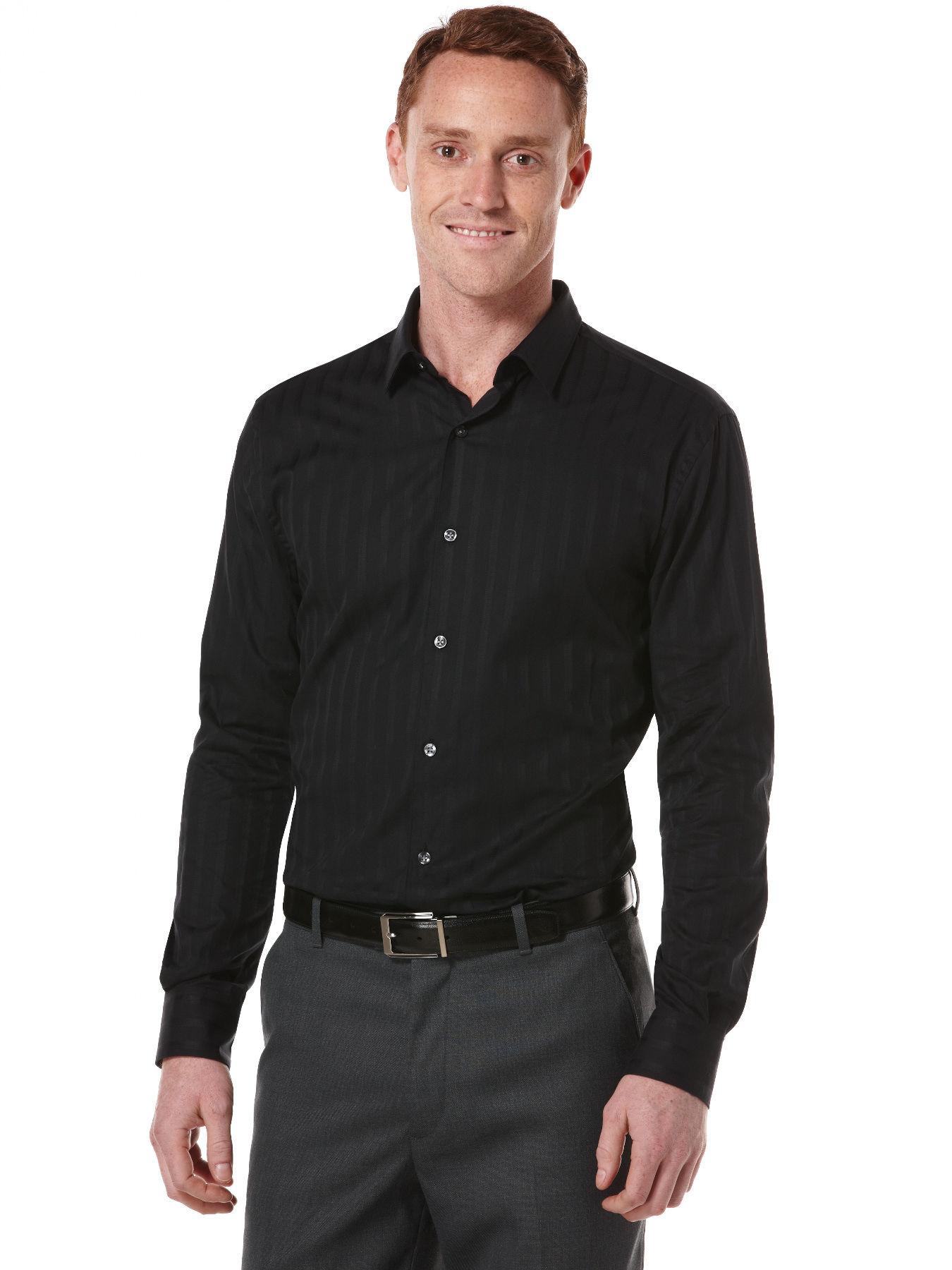 Perry Ellis Slim Fit Tonal Stripe Sateen Shirt In Black