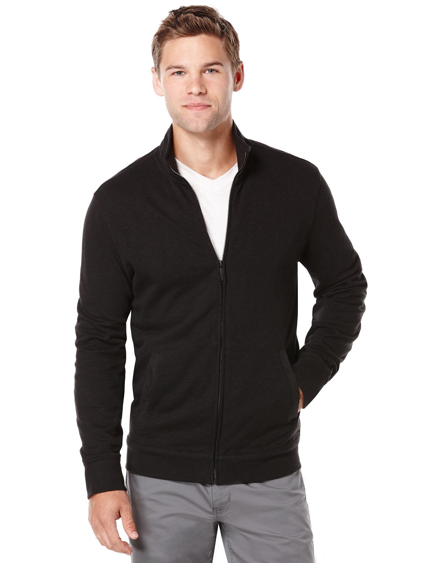 Perry Ellis Slub Textured Full Zip Jacket In Black For Men