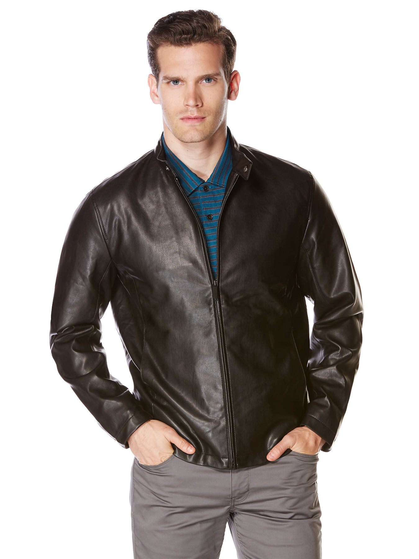 Perry Ellis Faux Leather Front Zip Jacket In Black For Men