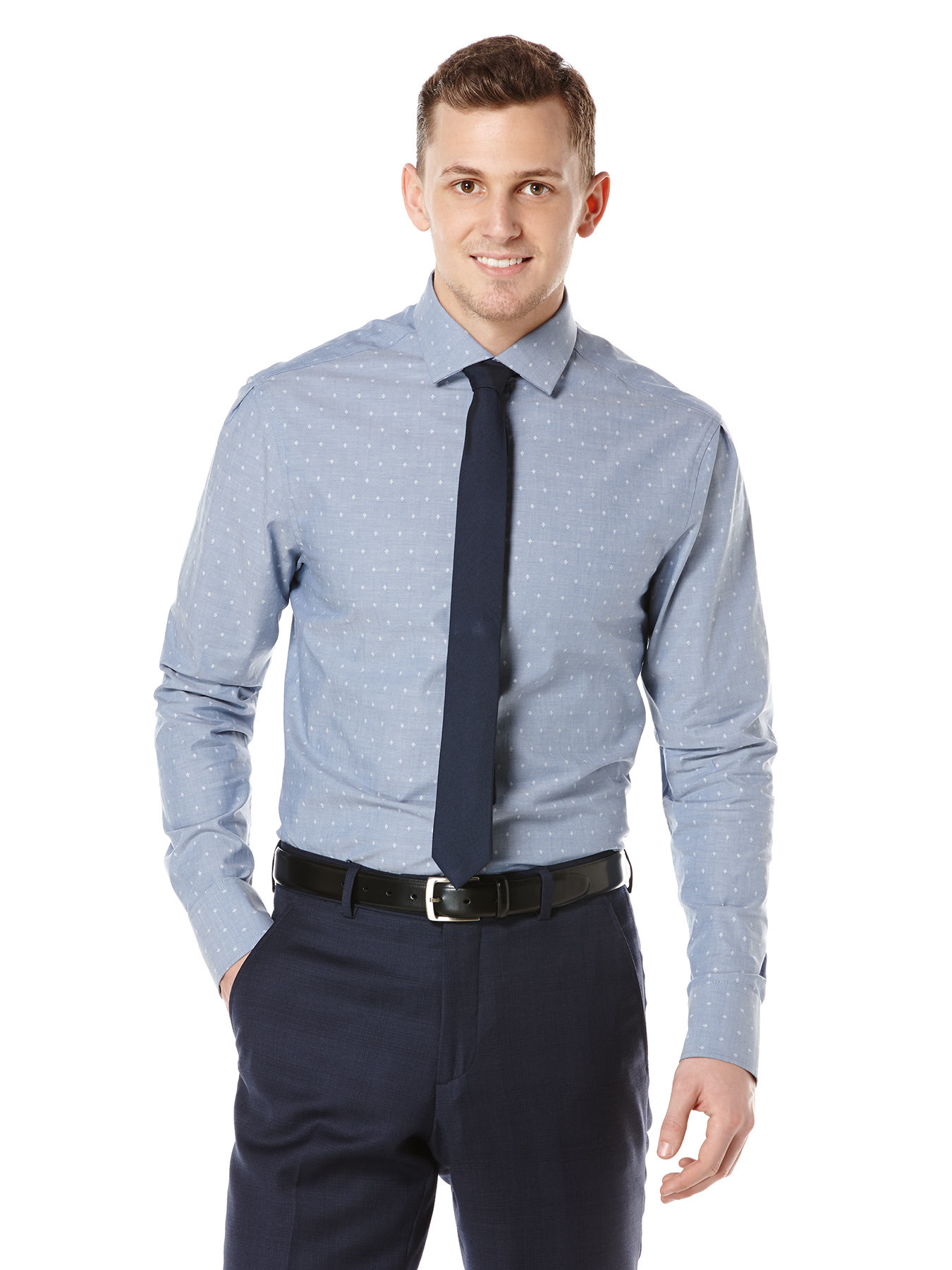 Perry Ellis Slim Fit Jewel Dobby Dress Shirt In Blue For