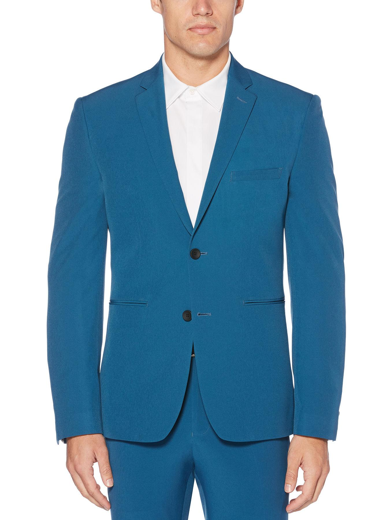 21c54967db Lyst - Perry Ellis Very Slim Fit Washable Turquoise Tech Suit Jacket ...