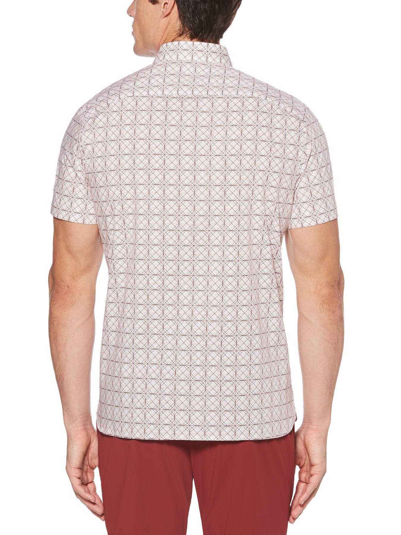 25971f8ac Lyst - Perry Ellis Total Stretch Slim Fit Geo Print Shirt in Pink ...