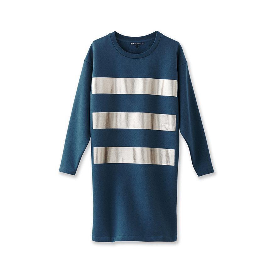 Petit bateau women 39 s metallic striped dress in black lyst for Petit bateau striped shirt