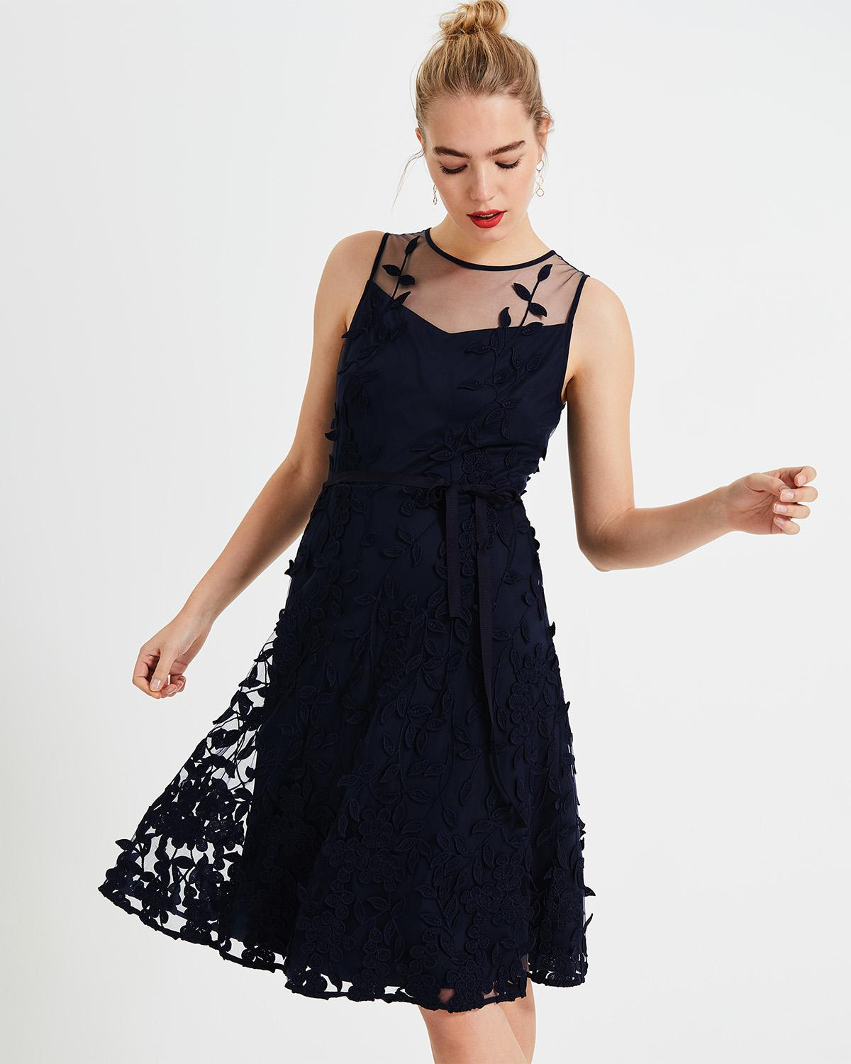 f7831b0fa4 Lyst - Phase Eight Blue Kenzie Embroidered Fit   Flare Dress in Blue