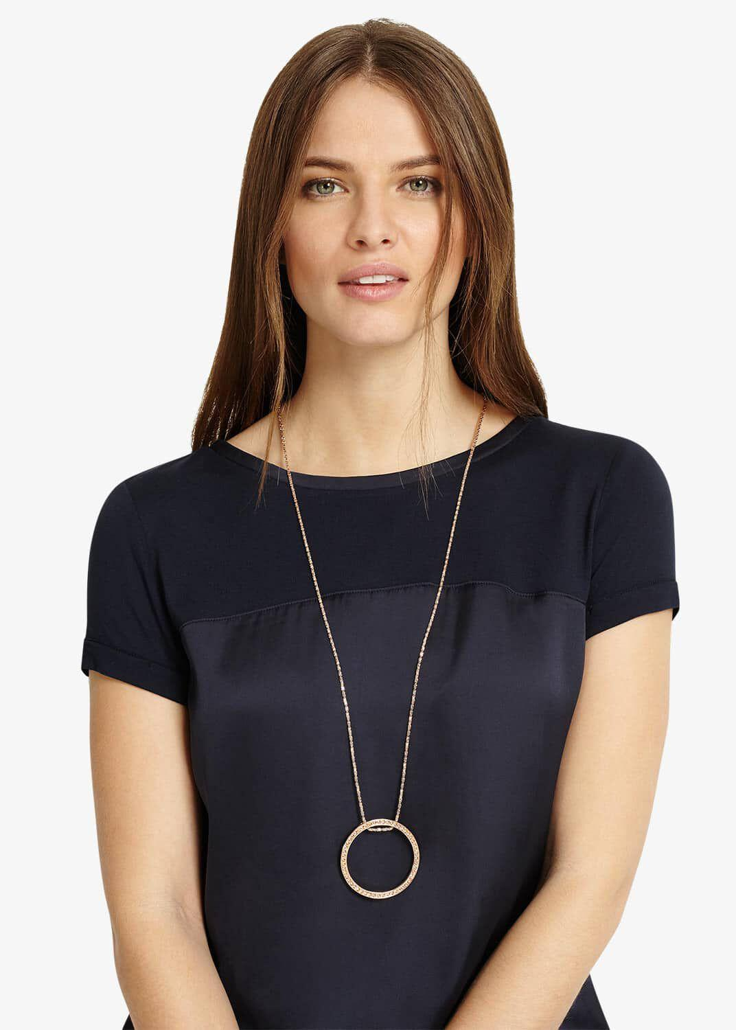 Phase Eight Gwen Pave Disc Necklace in Rose Gold (Blue)