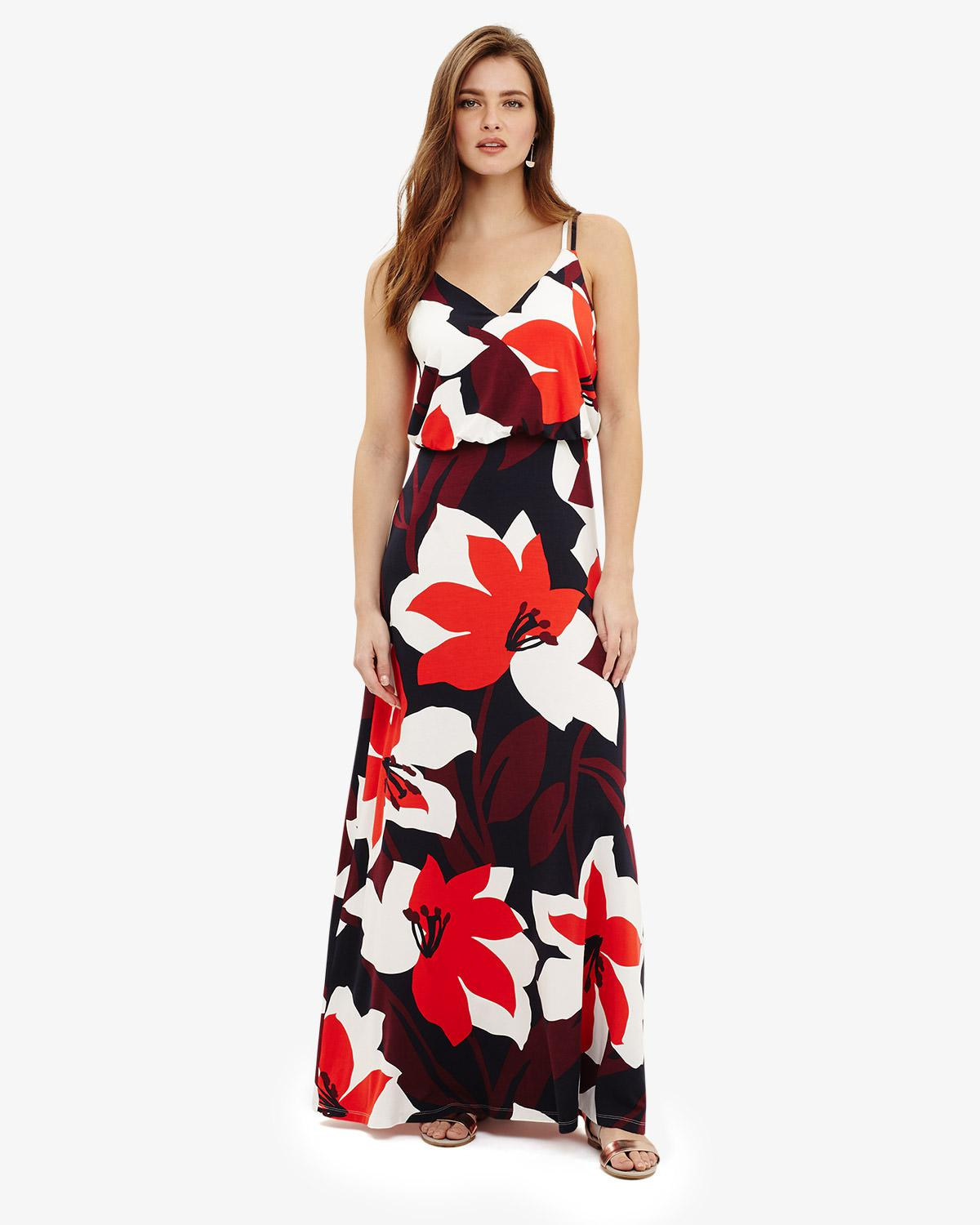 d315d6dc8a0 Phase Eight Lana Floral Print Maxi Dress in Red - Lyst