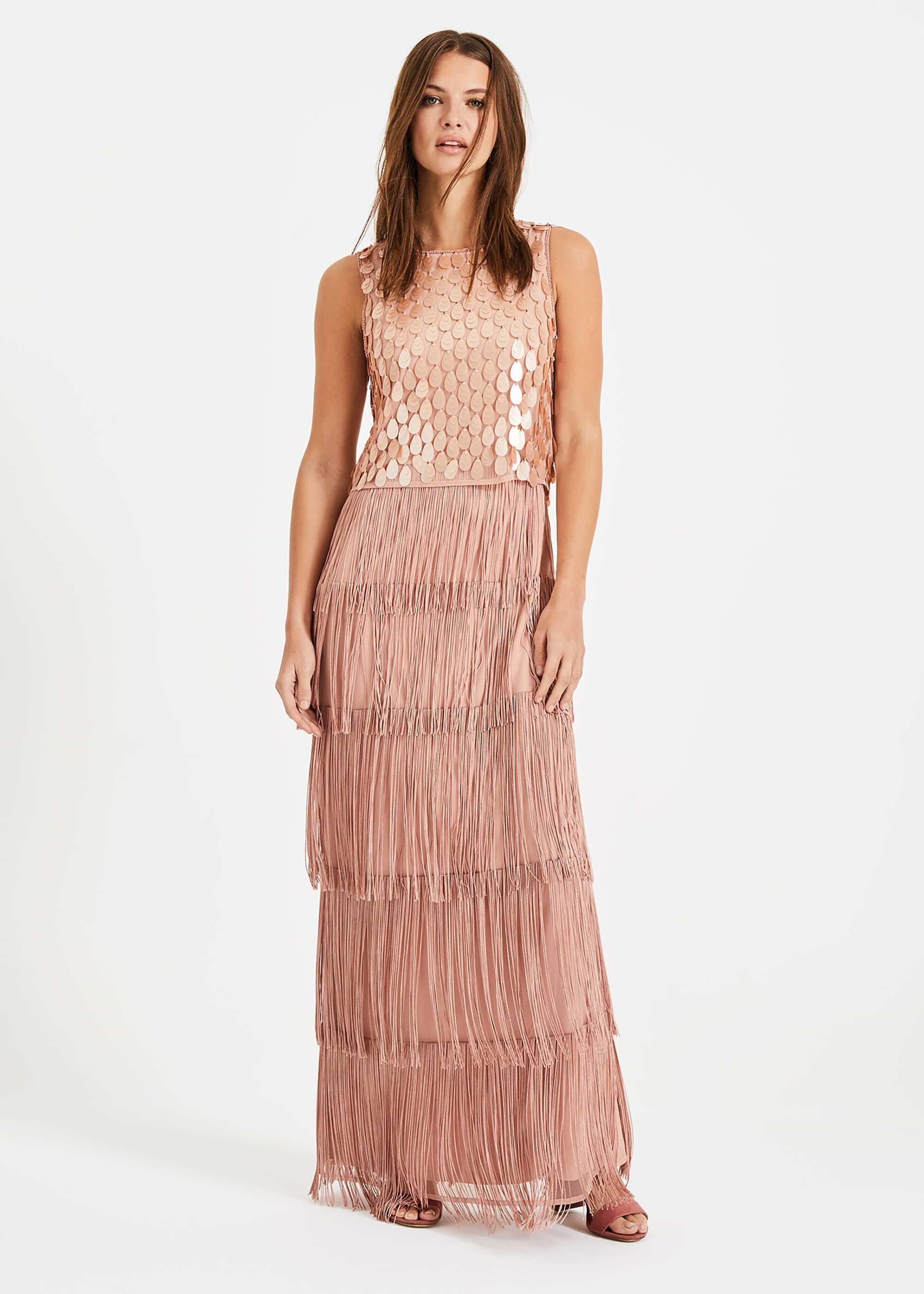 49483fd5c2 Phase Eight - Pink Amandine Fringe Maxi Dress - Lyst. View fullscreen
