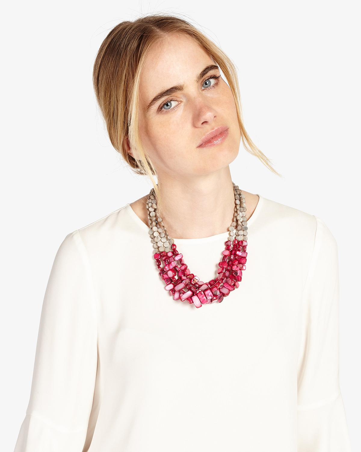Phase Eight Clarissa Necklace in Grey/Pink (Pink)