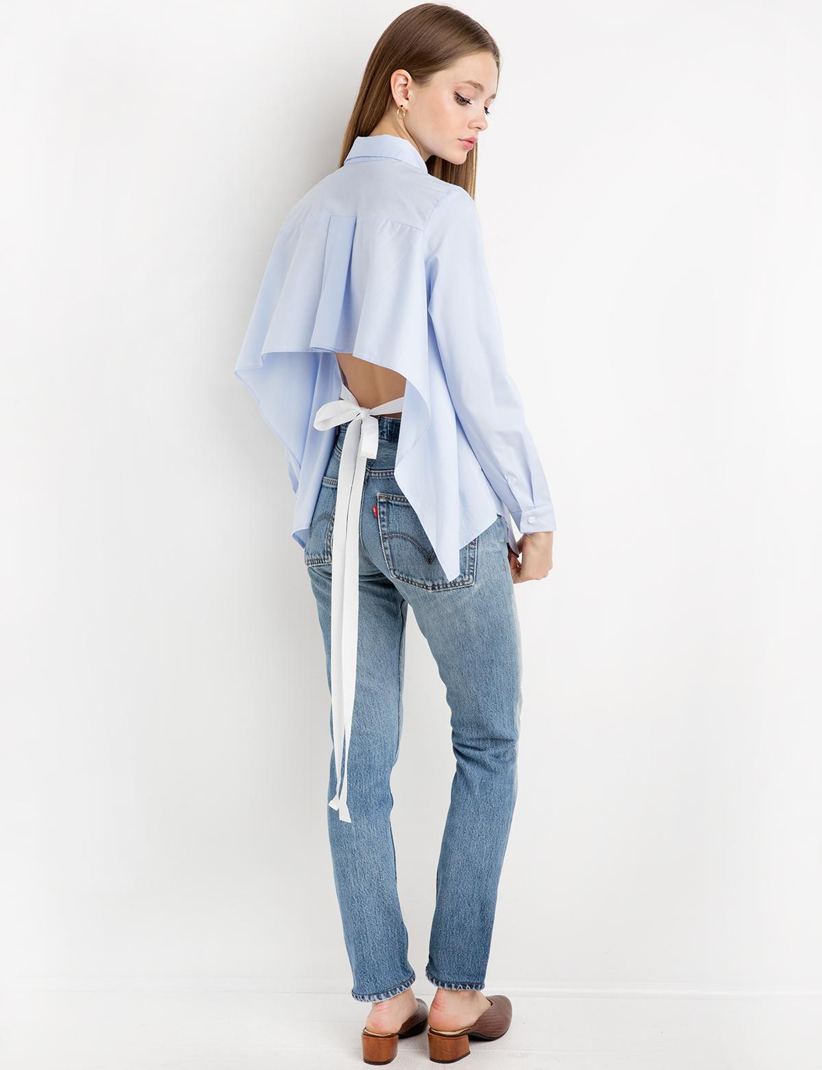 Lyst pixie market blue tie back shirt in blue for How to make a tie back shirt