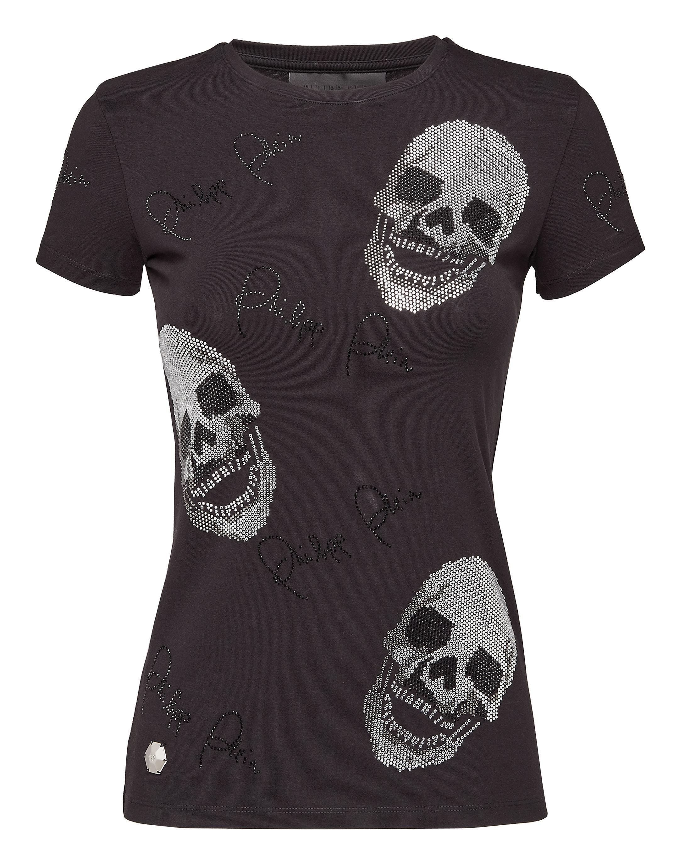 long sleeve T-shirt with metallic detailed neck - Black Philipp Plein Pictures Cheap Online aMEeFTq6Tw
