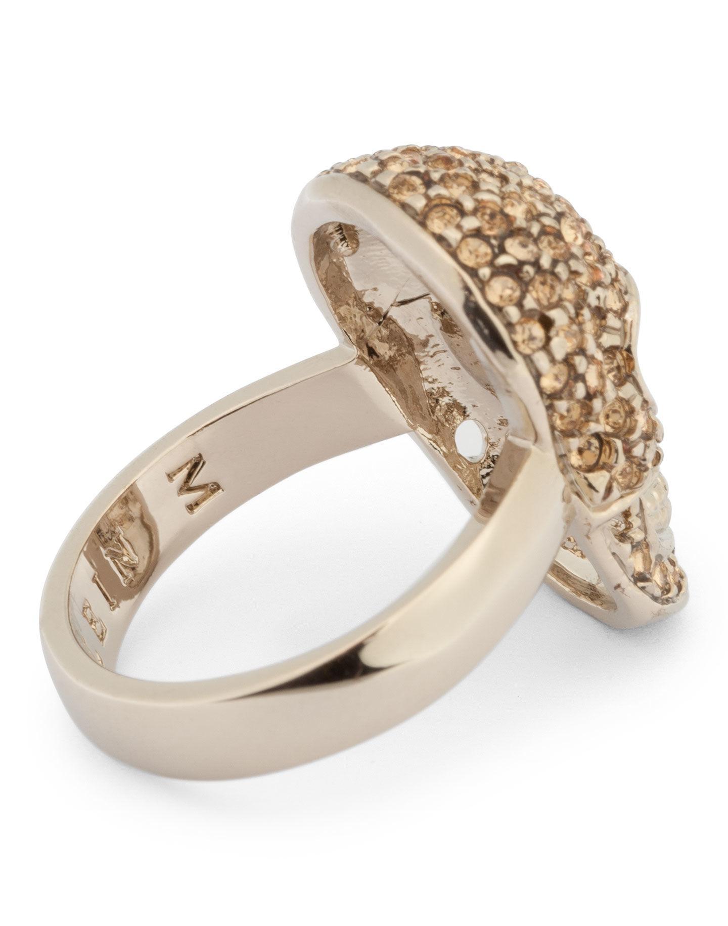 Philipp Plein Embellished Skull Ring in Gold (Metallic)