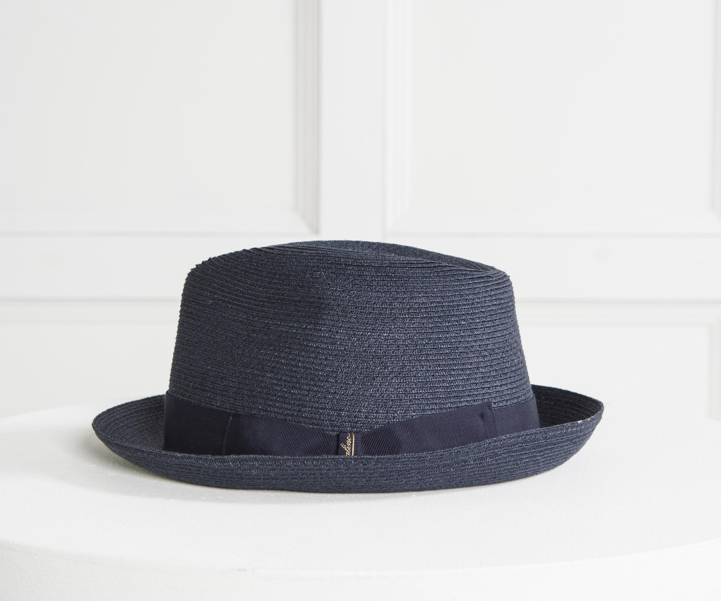 Borsalino  1107  Hemp Trilby Hat Navy in Blue for Men - Lyst bf8a6ec64ae6