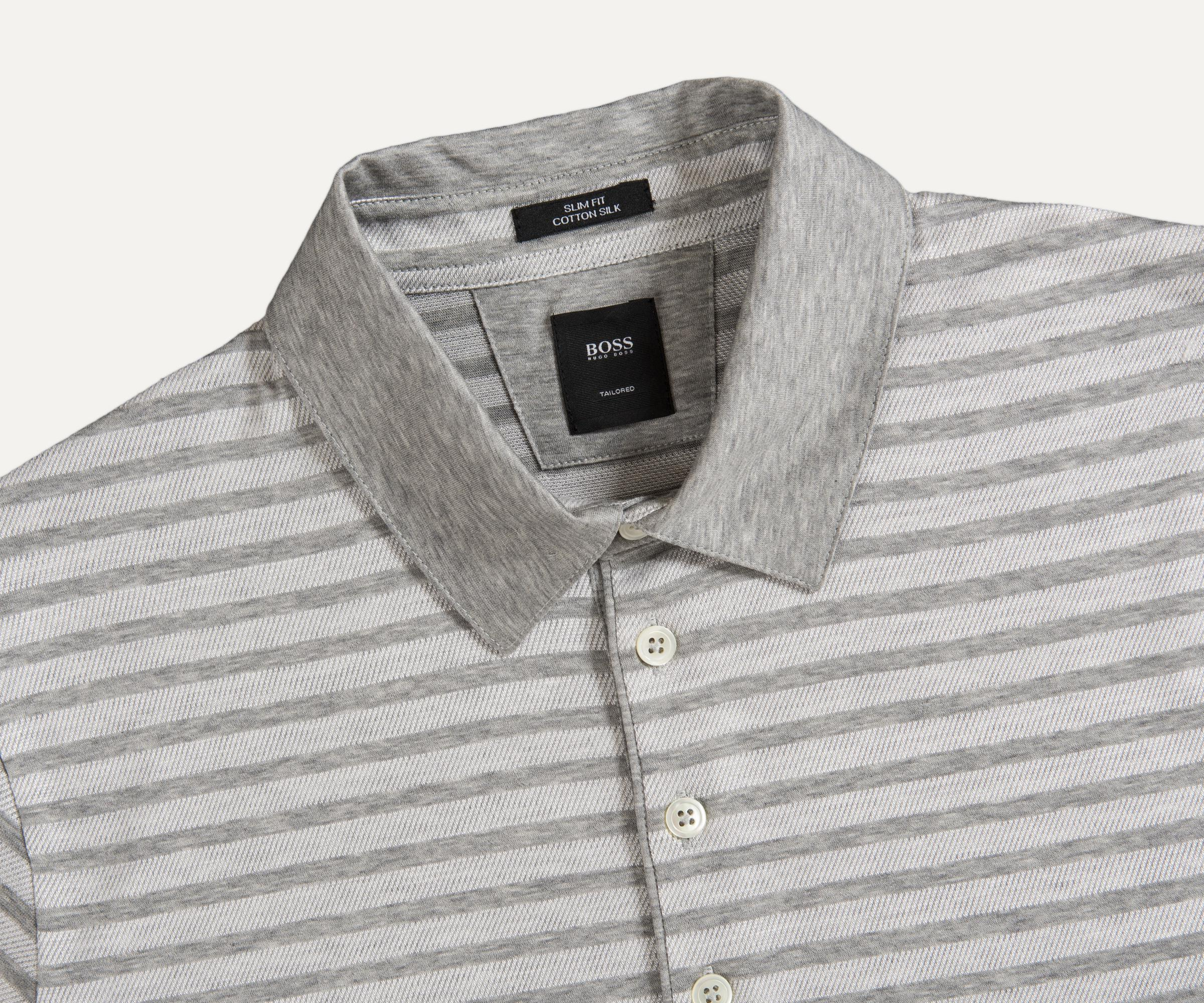 1932e44c Lyst - BOSS 't-pryde 05' Cotton Silk Striped Polo Grey in Gray for Men