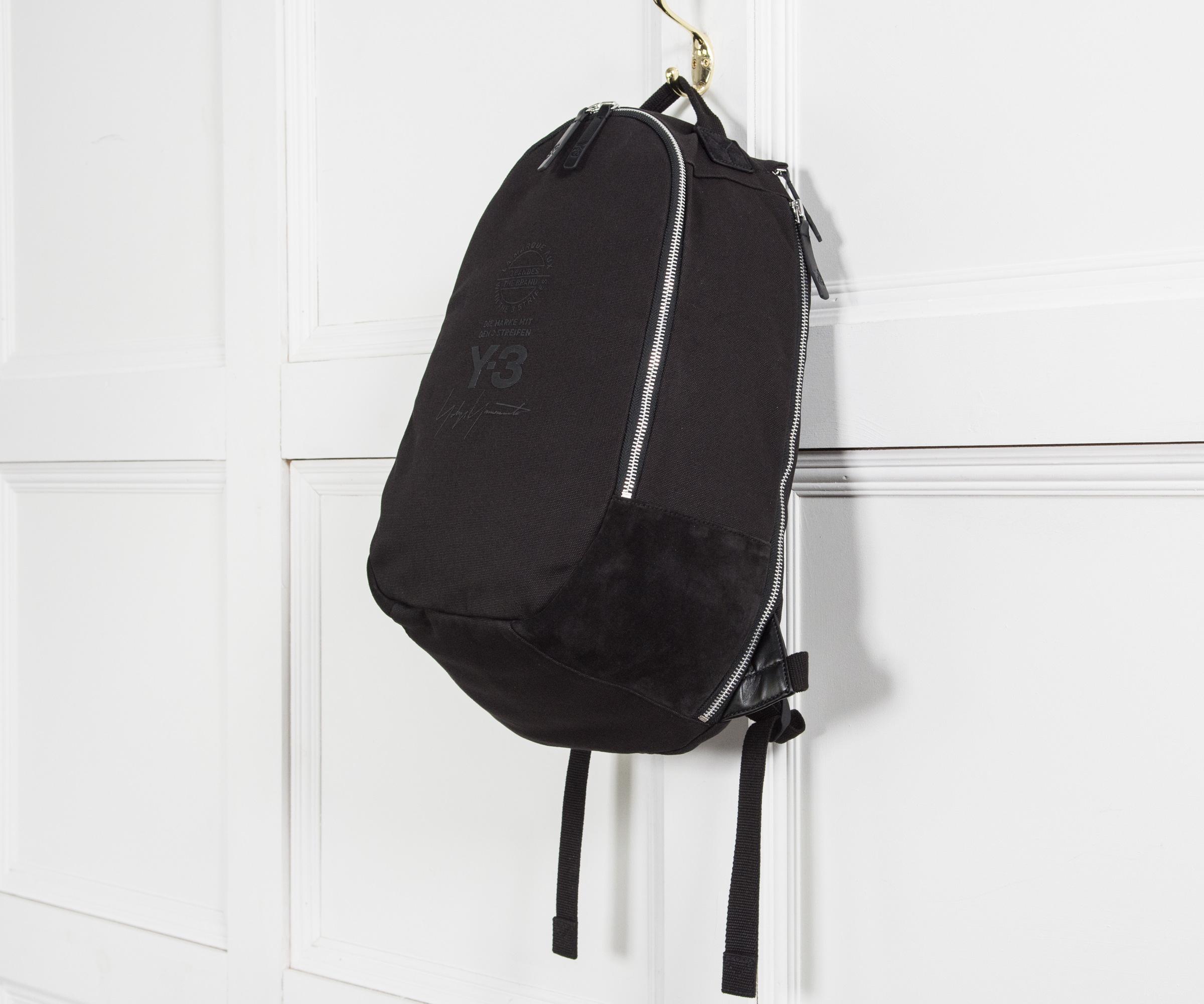 Y-3 Canvas Logo Backpack Black for Men