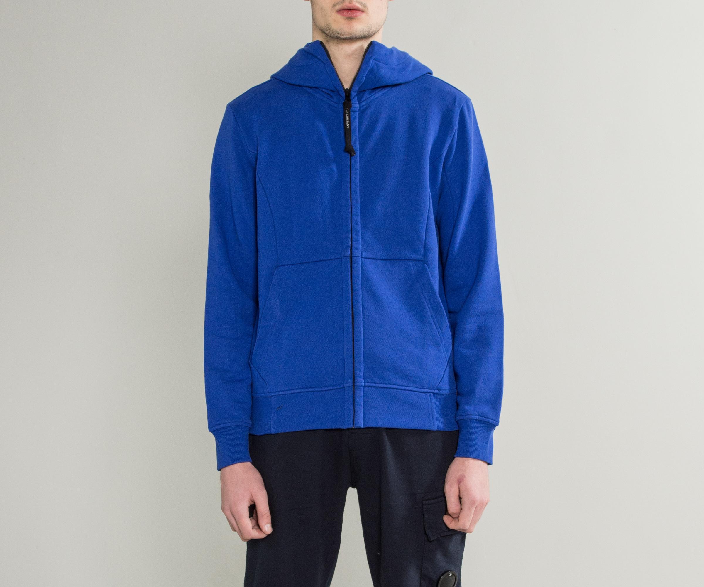 C P Company Full Zip Goggle Hooded Sweatshirt Royal Blue for Men