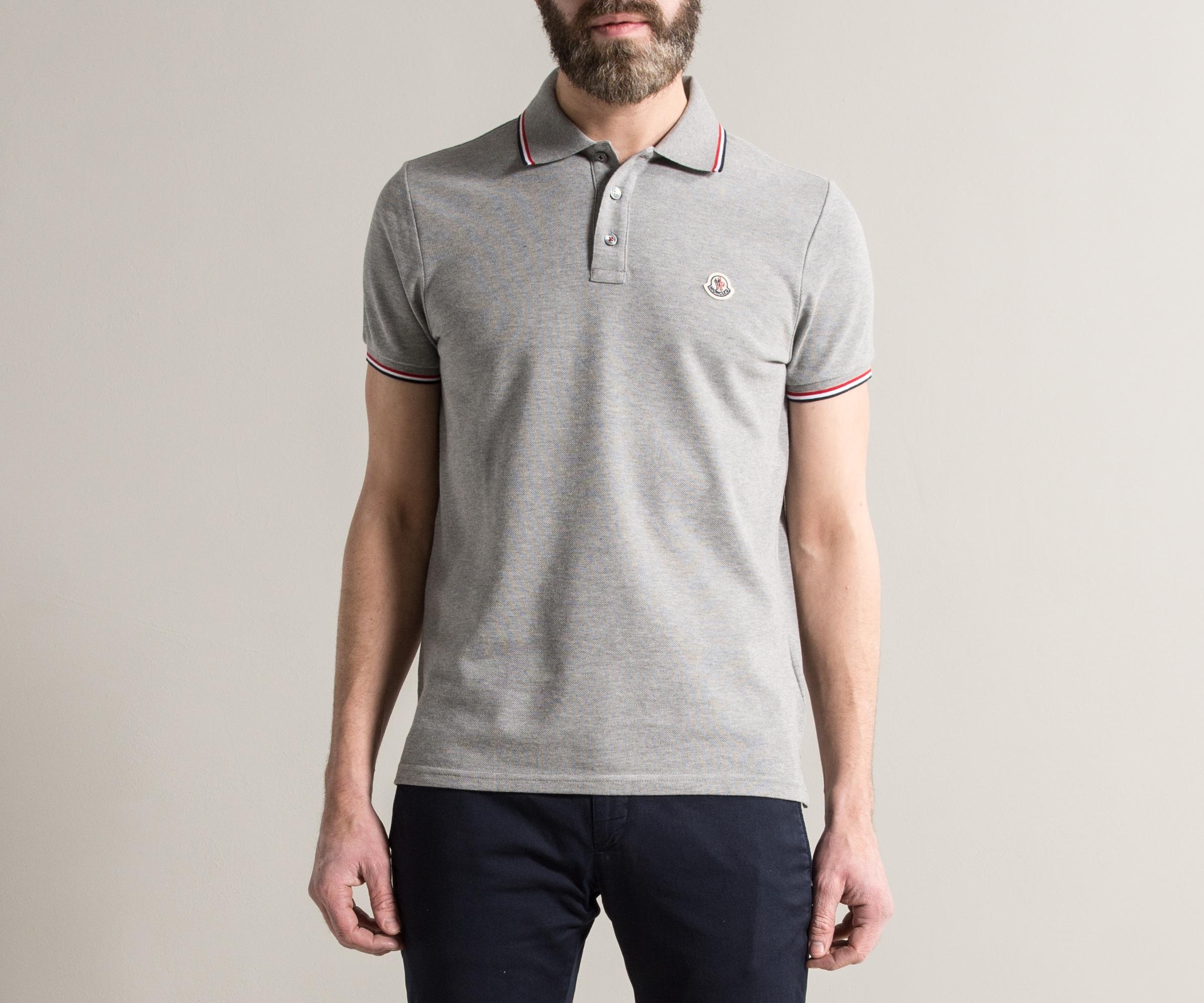 4648d5a17d4b Lyst - Moncler 3-button Polo With Striped Trim Light Grey in Gray ...