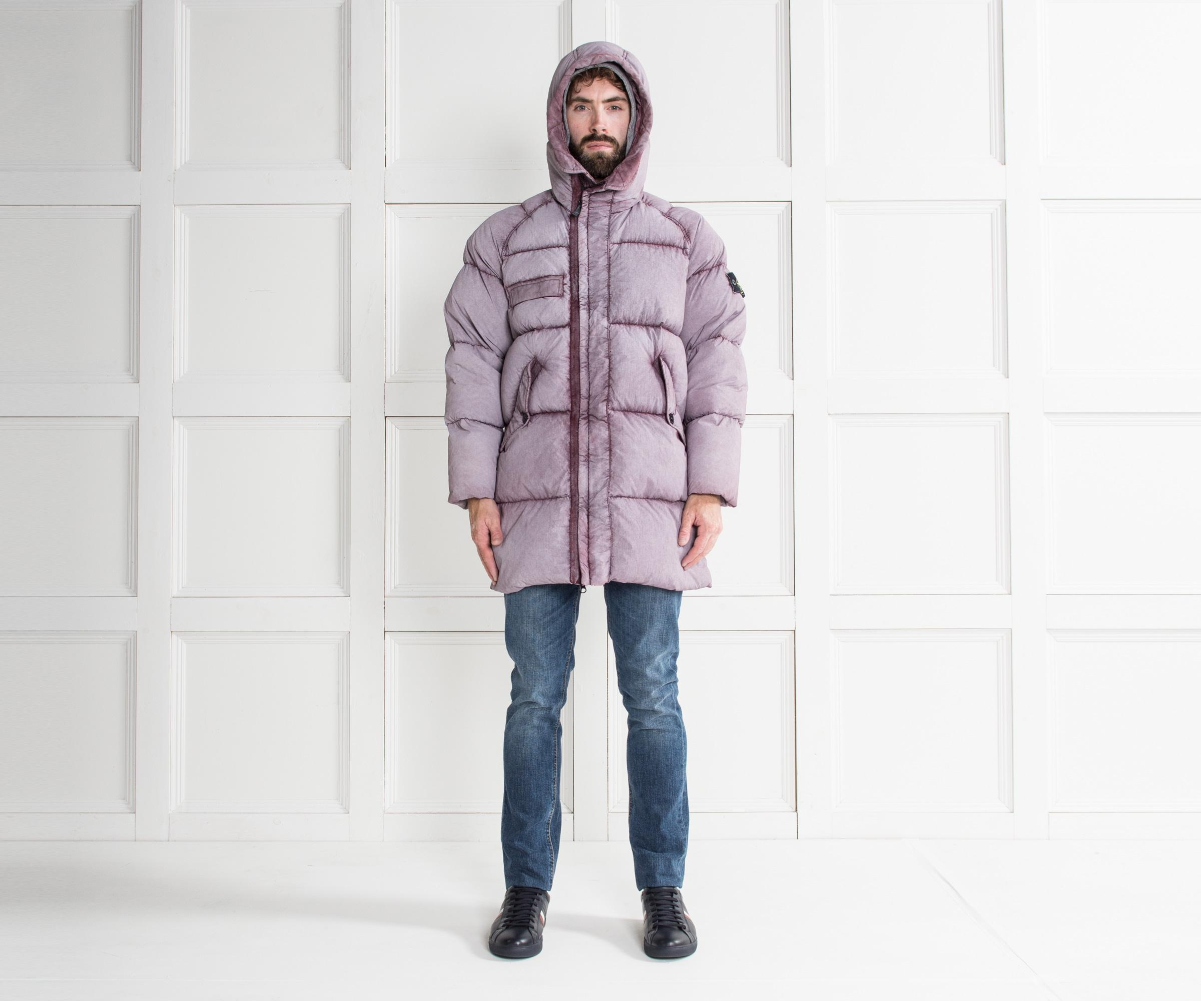 f414ab309 Stone Island Multicolor 'tela' Nylon Down With Dust Colour Frost Finish  Jacket Dusty Claret for men