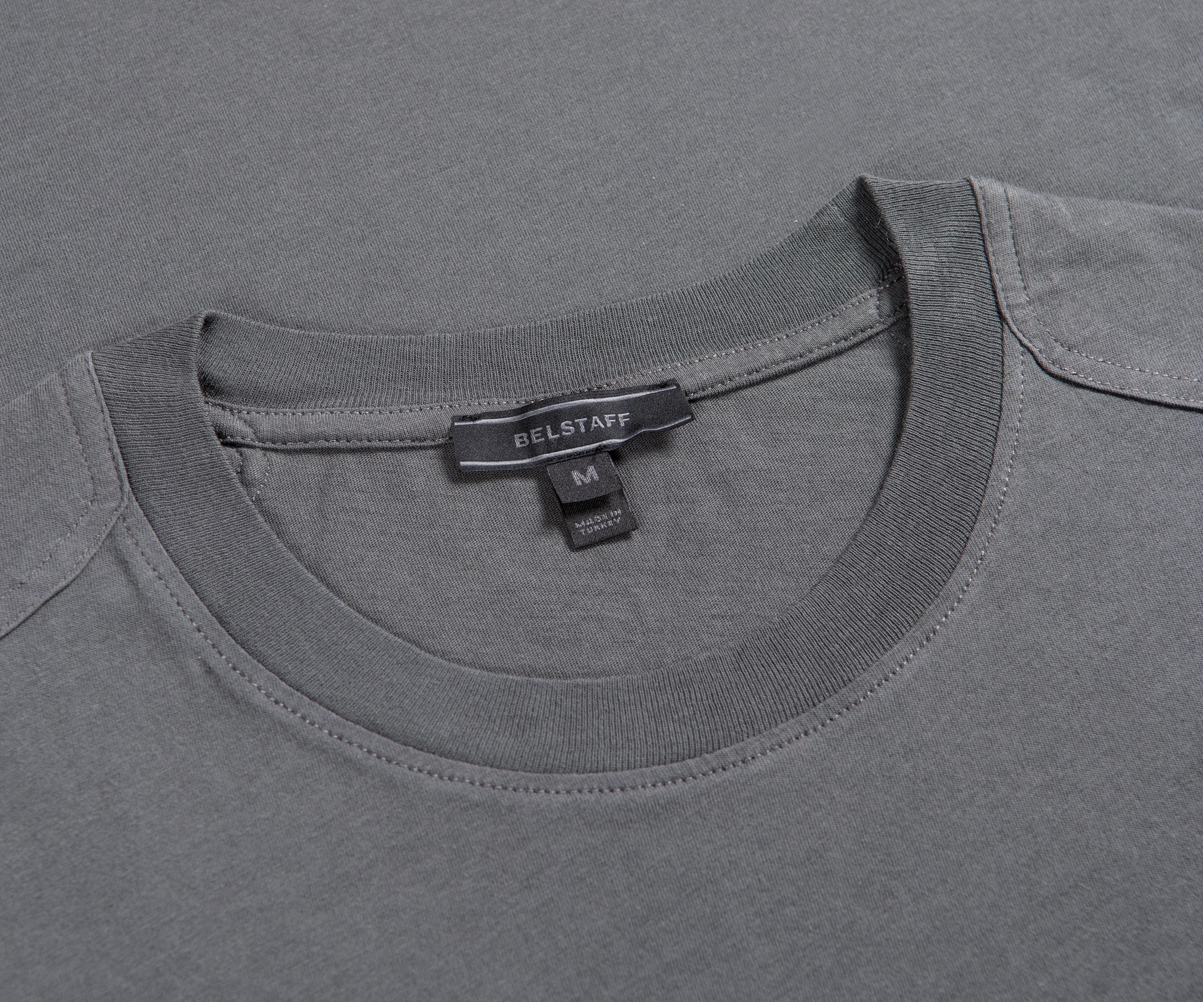 BELSTAFF /'THOM/' CHEST POCKET CLASSIC T-SHIRT DARK LIGHT BLUE CREW NECK