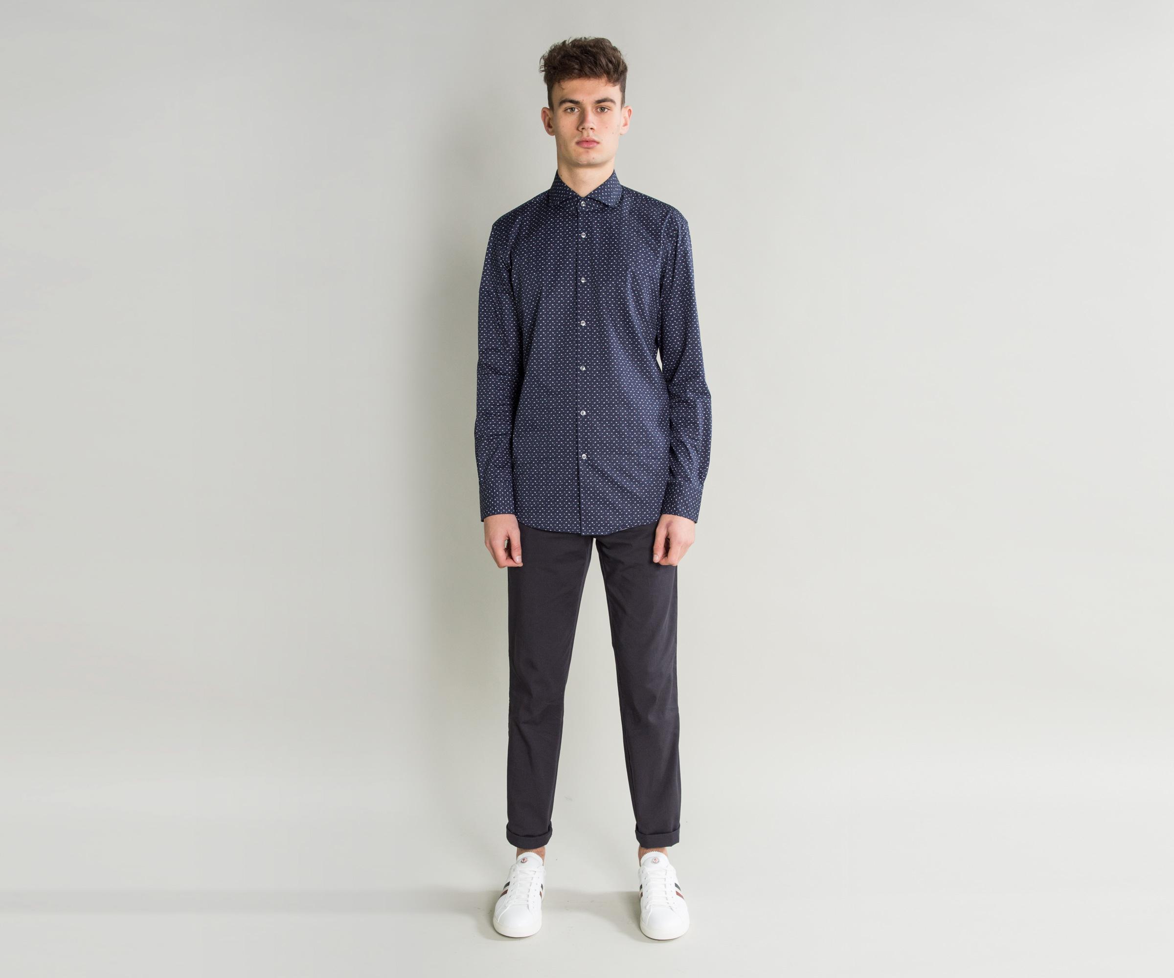 Lyst boss 39 jason 39 slim fit patterned shirt navy in blue for Hugo boss jason shirt