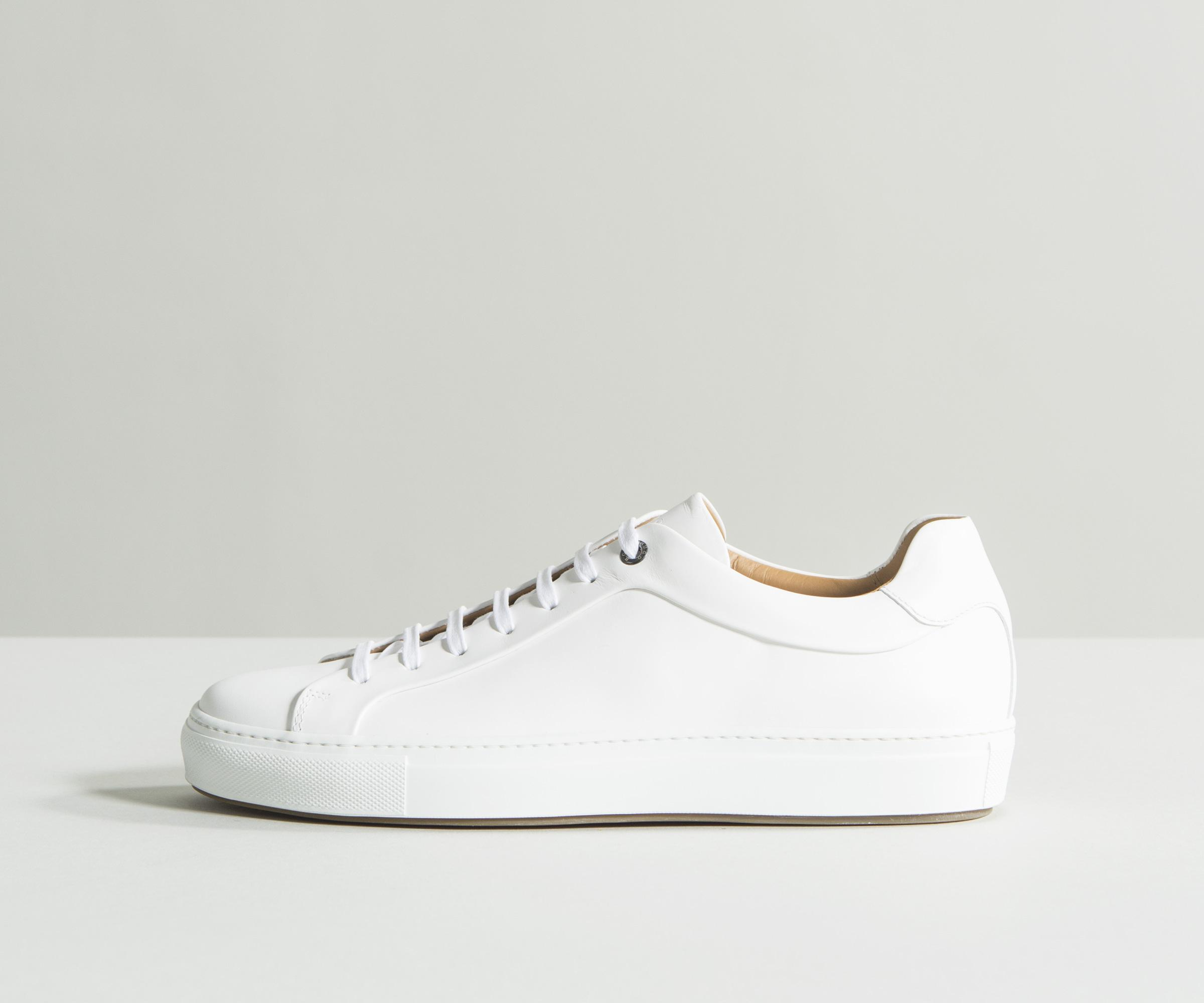 80edd08339 BOSS  mirage tenn  Tennis-style Burnished Leather Trainers White in ...