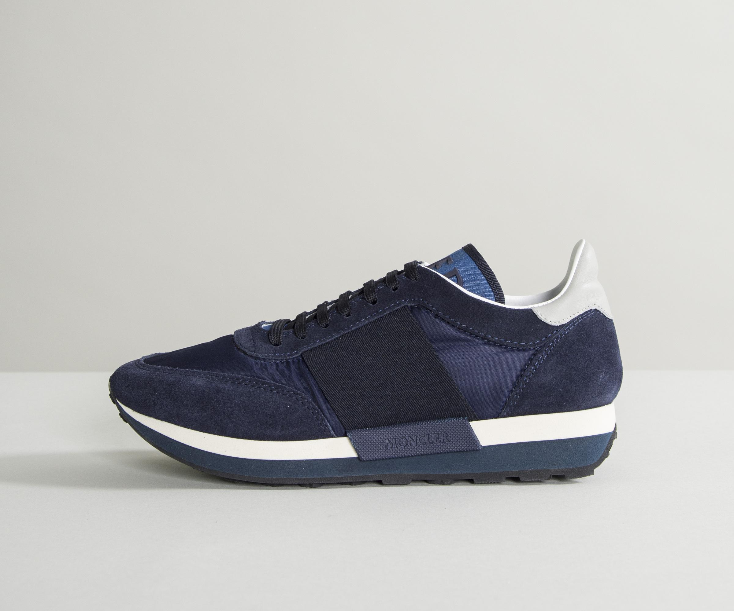 51f22bbaa Lyst - Moncler  horace  Suede   Mesh Trainers With Elasticated ...