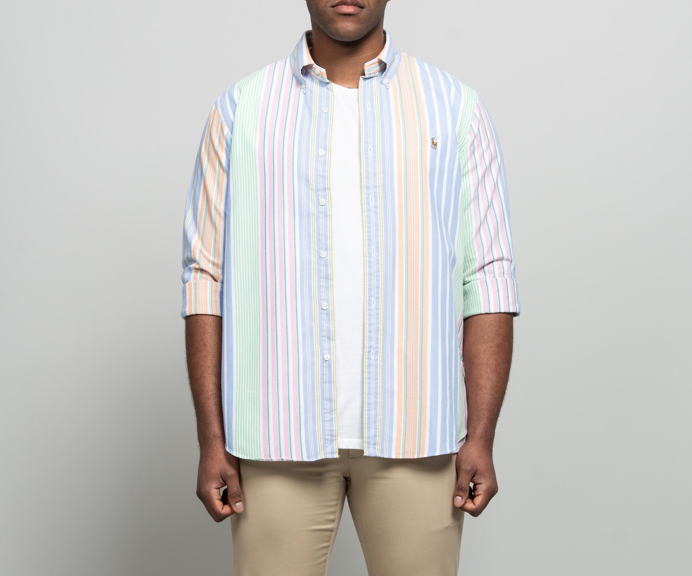 Ralph Lauren Large Custom Fit Blue Shirt Striped