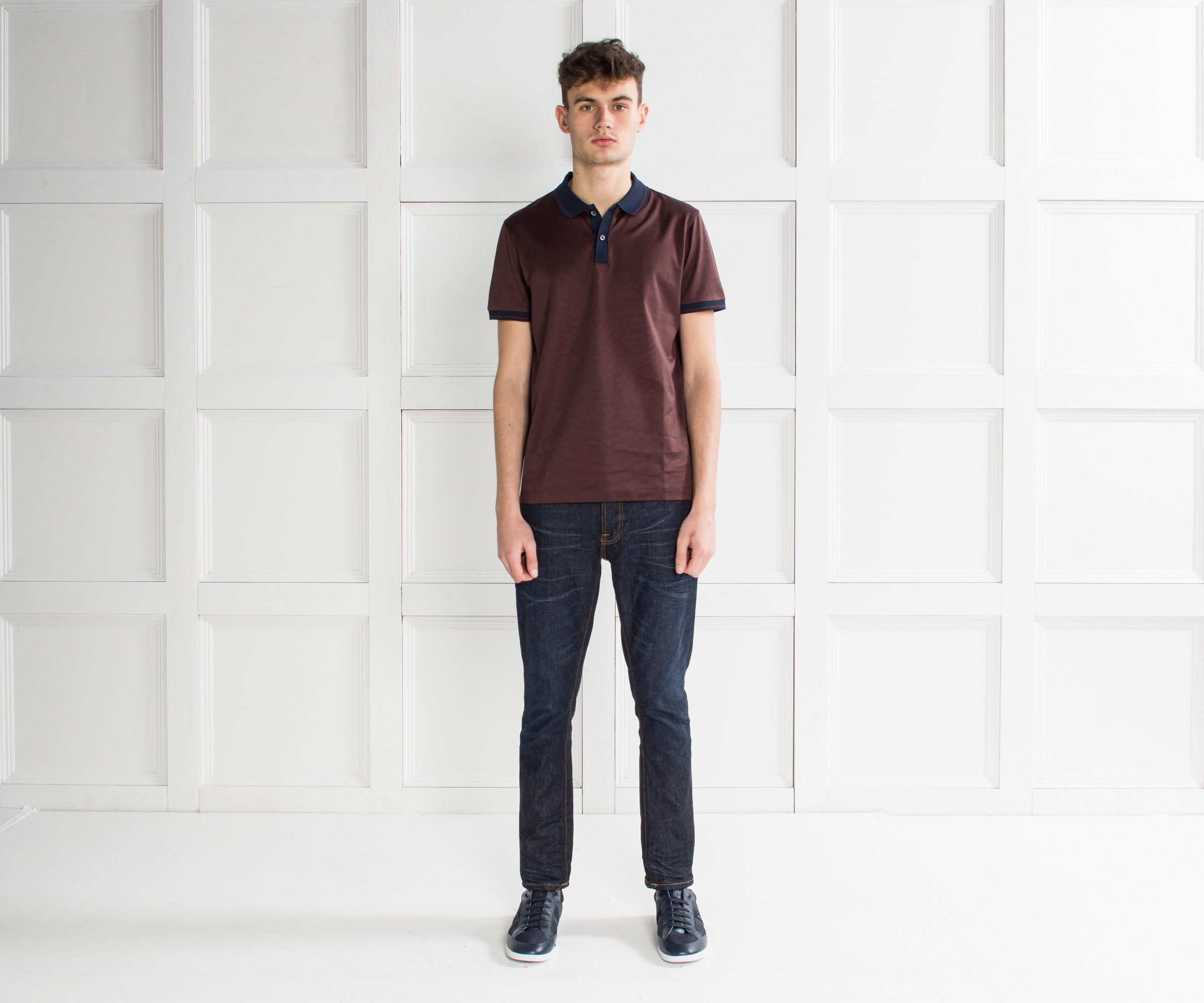 6c26cae02 Lyst - BOSS 'phillipson' Contrast Collar Polo Maroon in Purple for Men