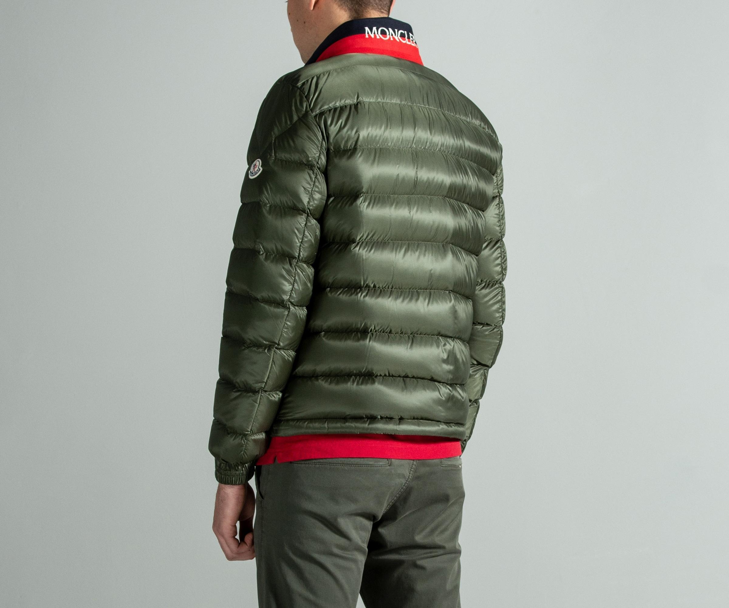 5c07bbee7 Moncler 'rodez' Biker Down Bomber Jacket Khaki in Green for Men - Lyst