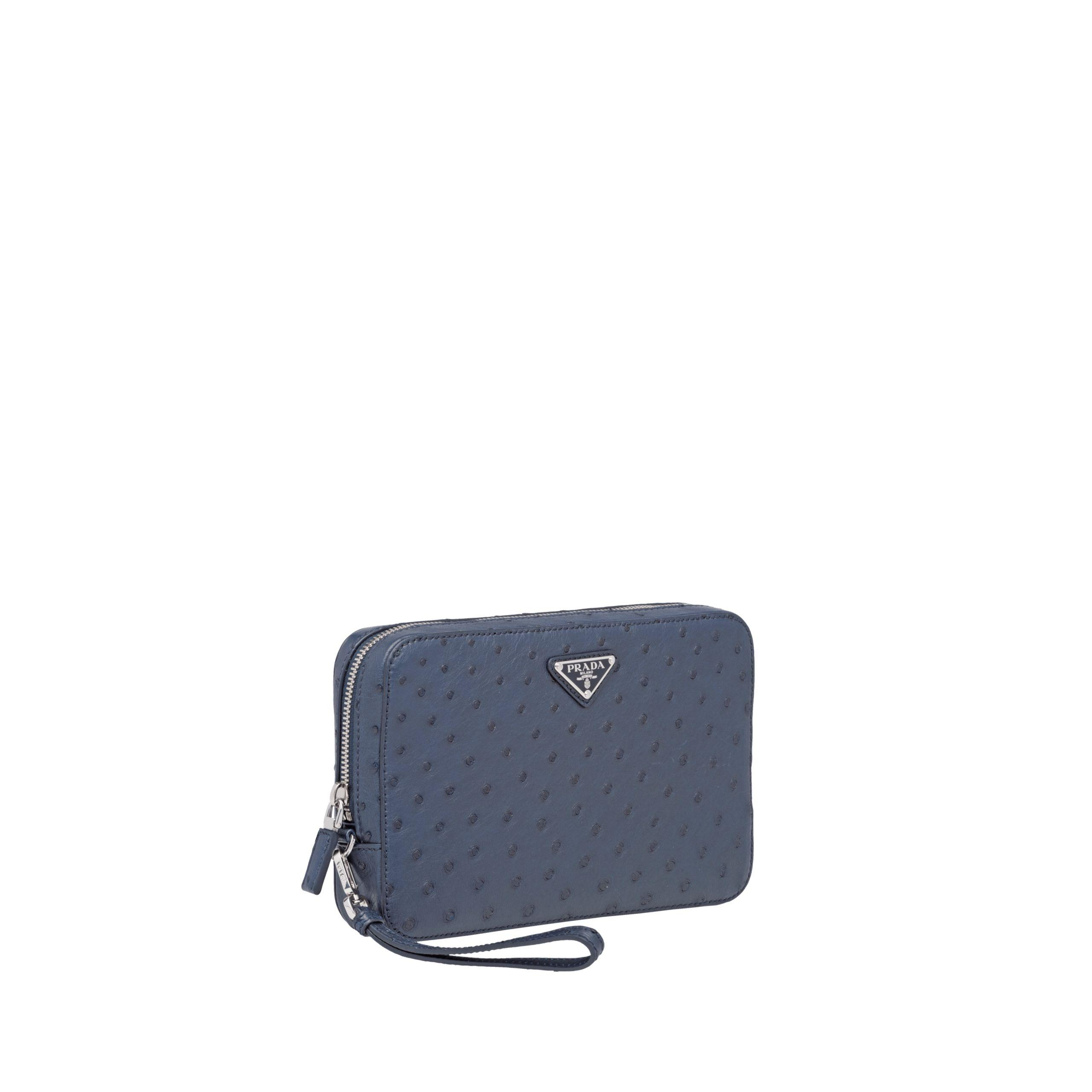 e59806229126 Prada - Blue Ostrich Leather Men's Bag for Men - Lyst. View fullscreen