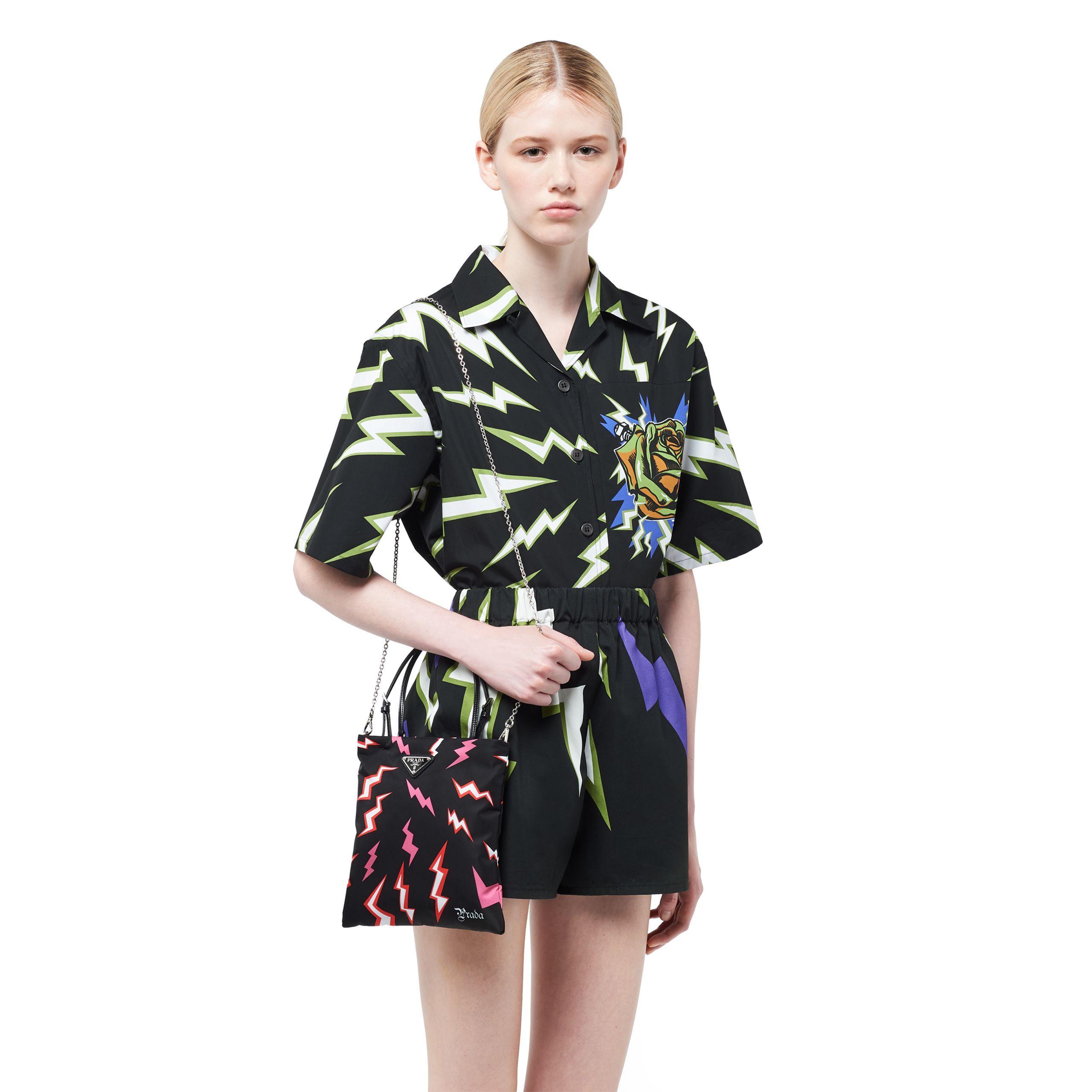 8960244bf0 Women's Black Lightning Print Nylon Handbag