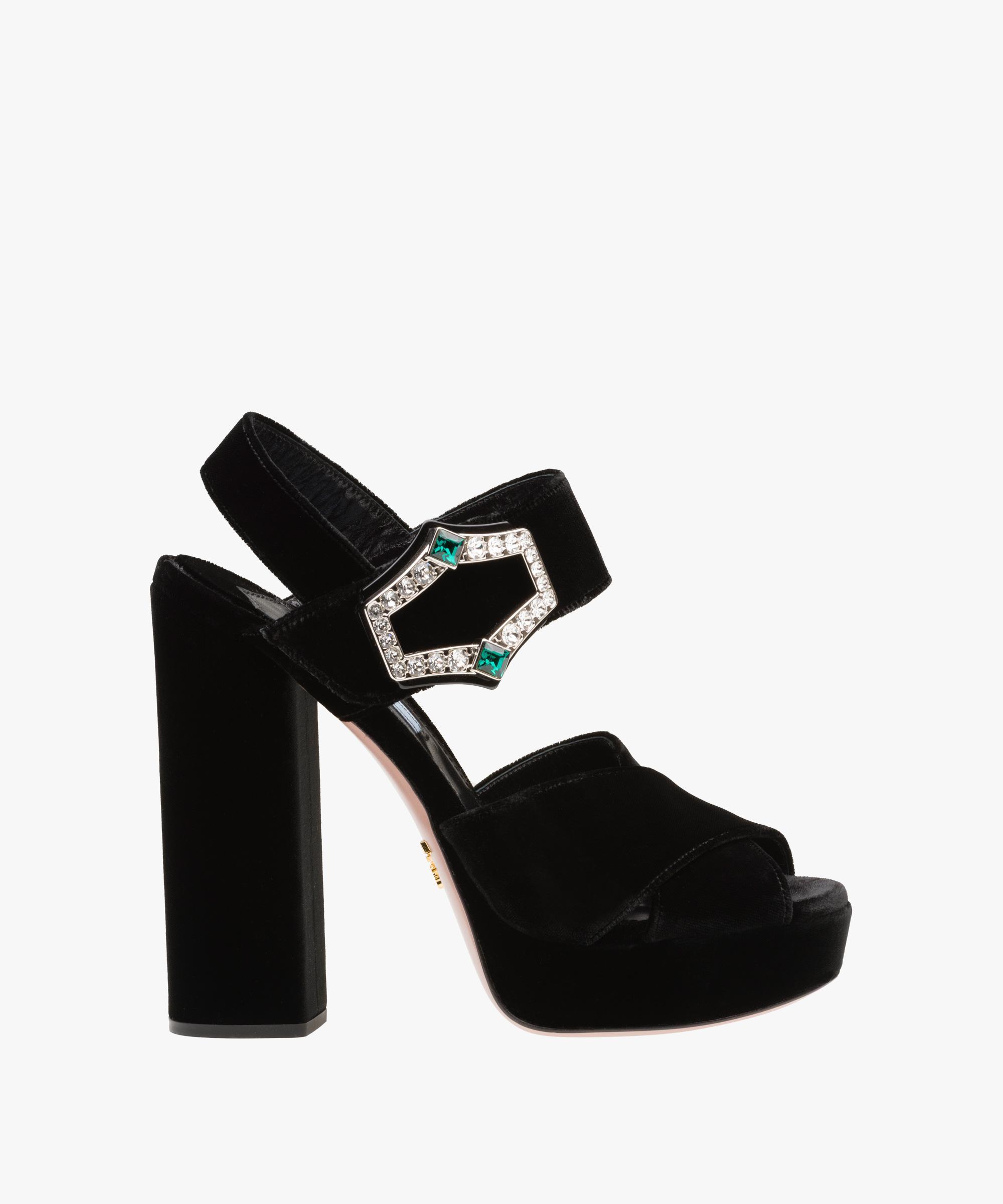 6cf7e3f7e21c Lyst - Prada Velvet Platform Sandals in Black