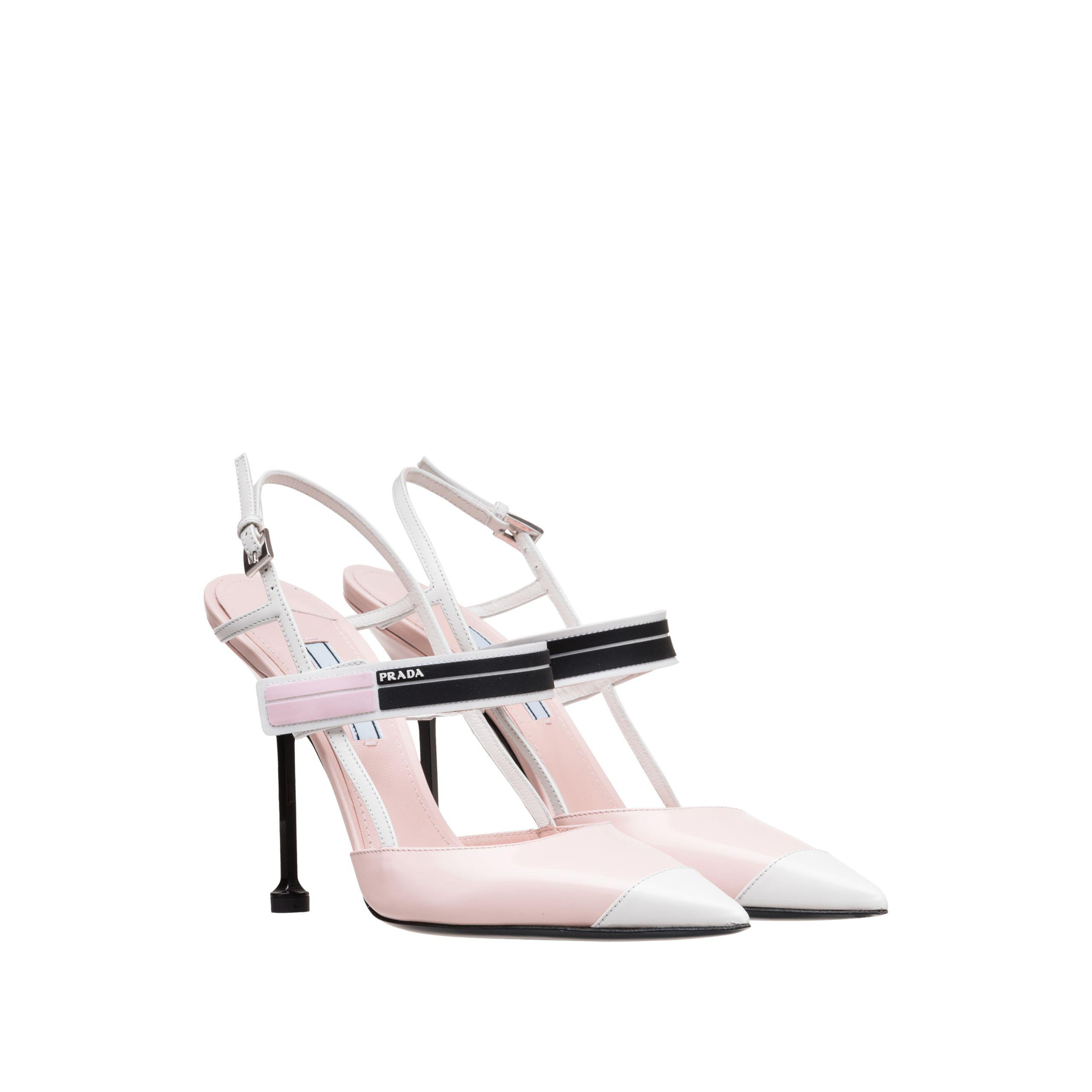 a1d7b047e Prada Two-tone Leather Pointy Toe Pumps in Pink - Lyst