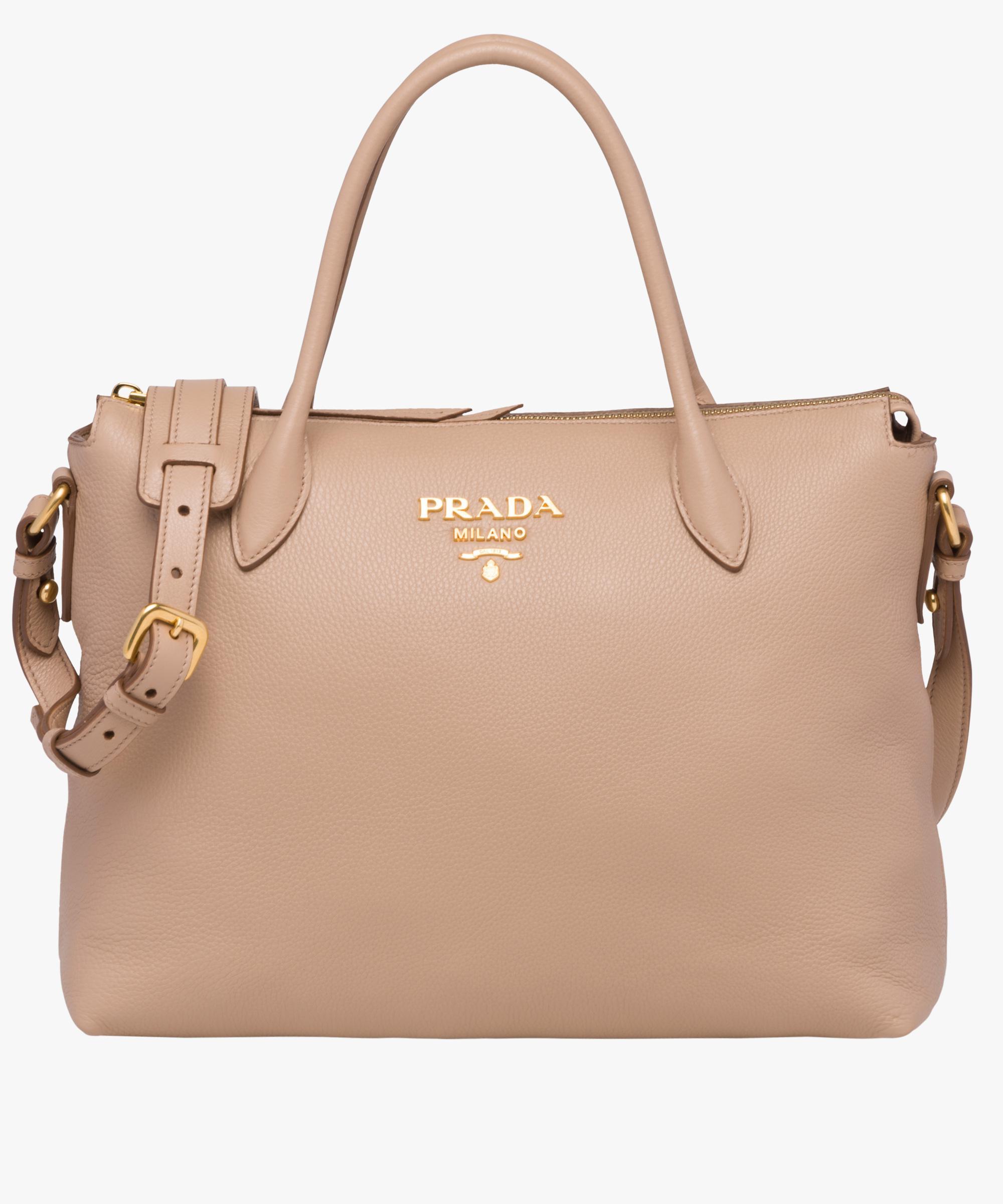 f0457a74b062 ... italy lyst prada calf leather bag in natural 2b9ab 07f46