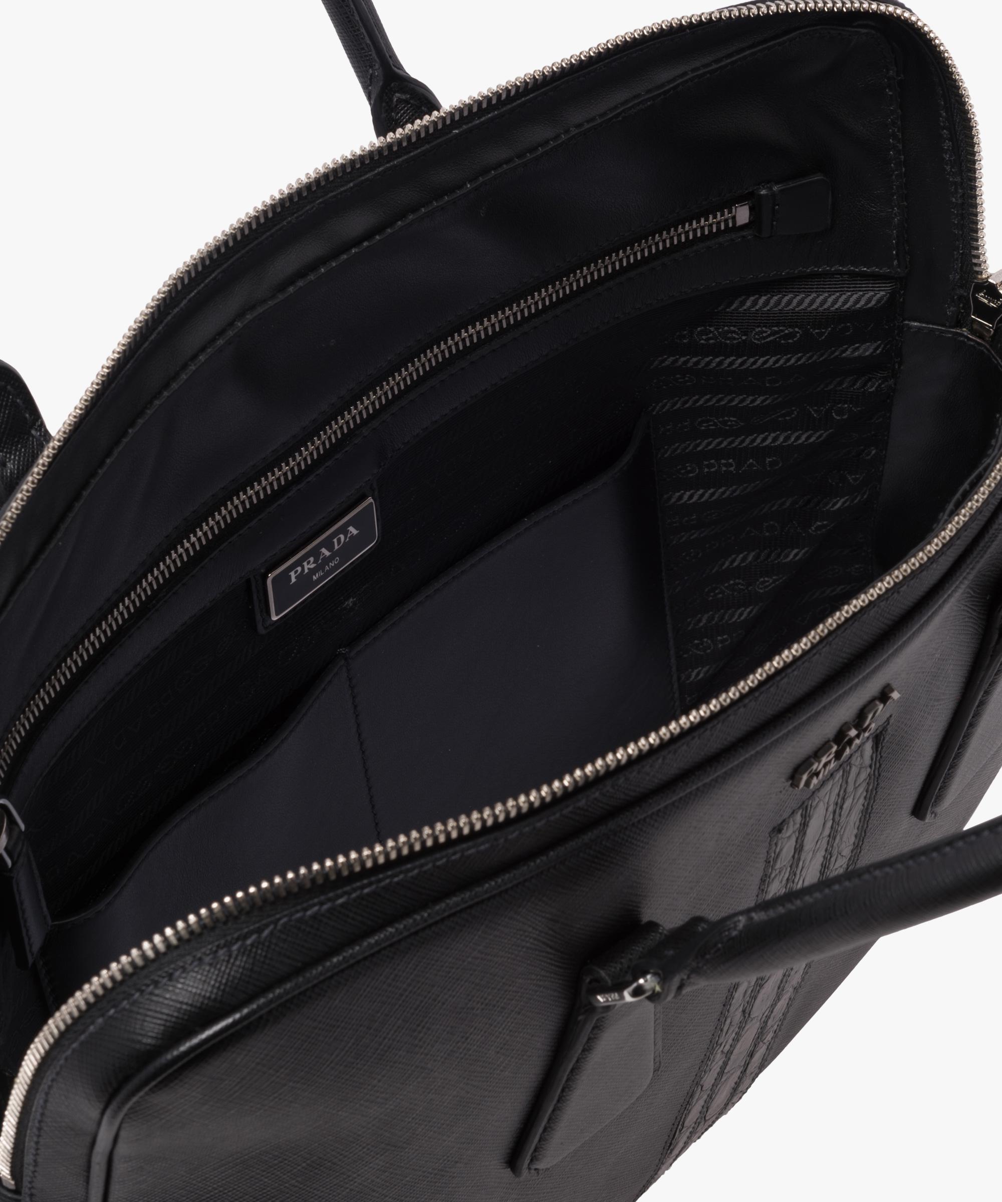 490bec28 Men's Black Saffiano Leather Work Bag