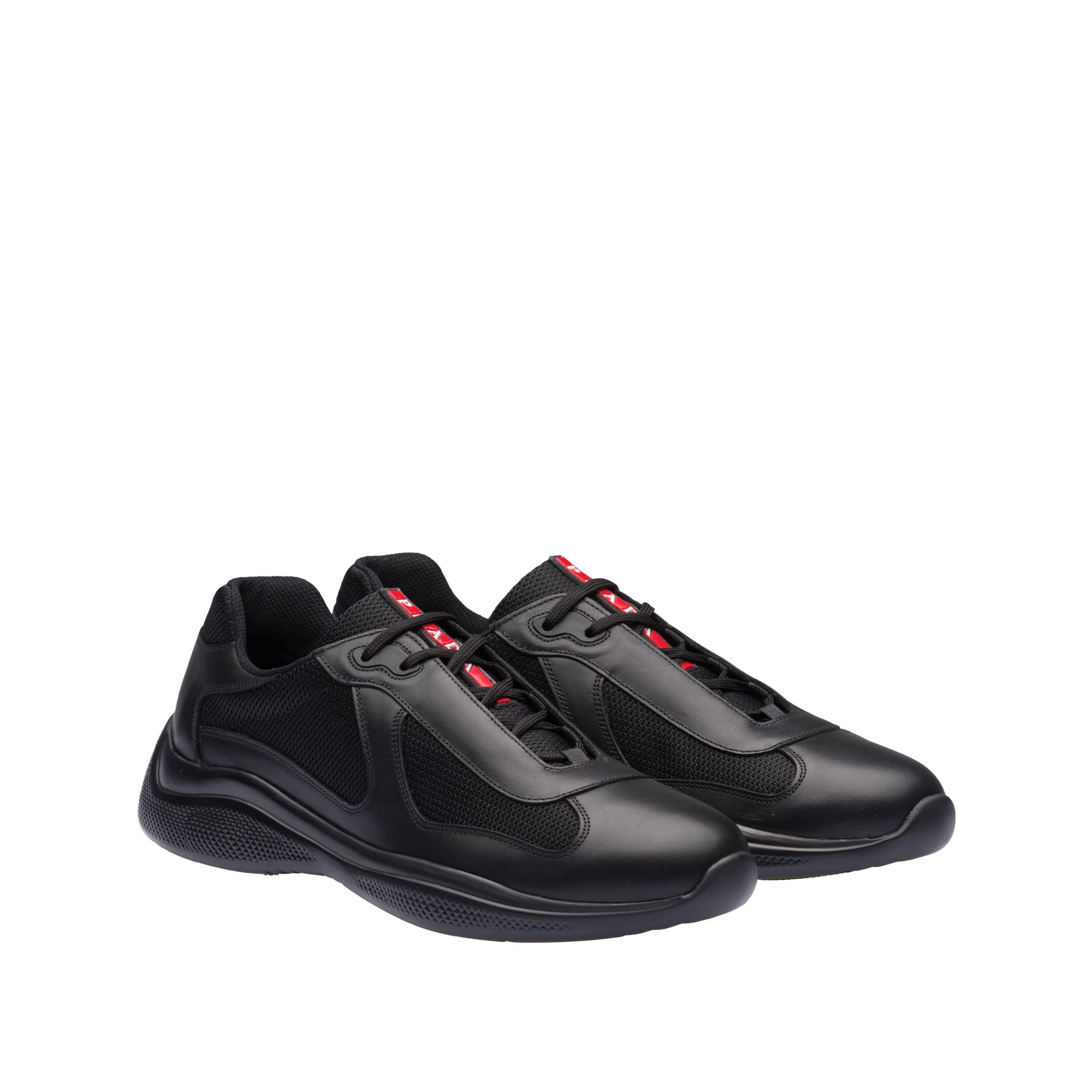99bb1ff5 Men's Black Leather And Technical Fabric Sneakers