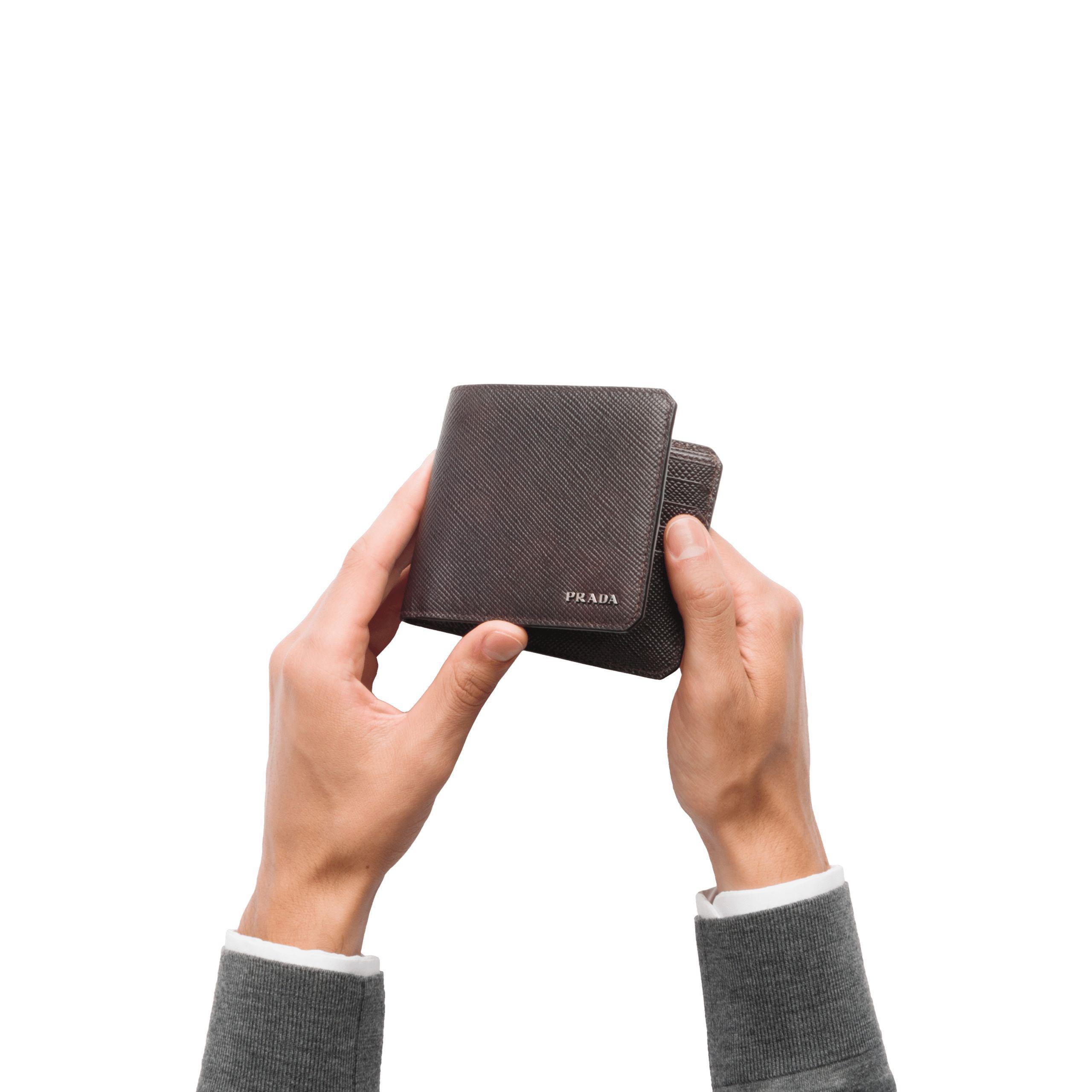 3531e60b120110 ... australia prada black saffiano cuir leather wallet for men lyst. view  fullscreen c46bb efbcd