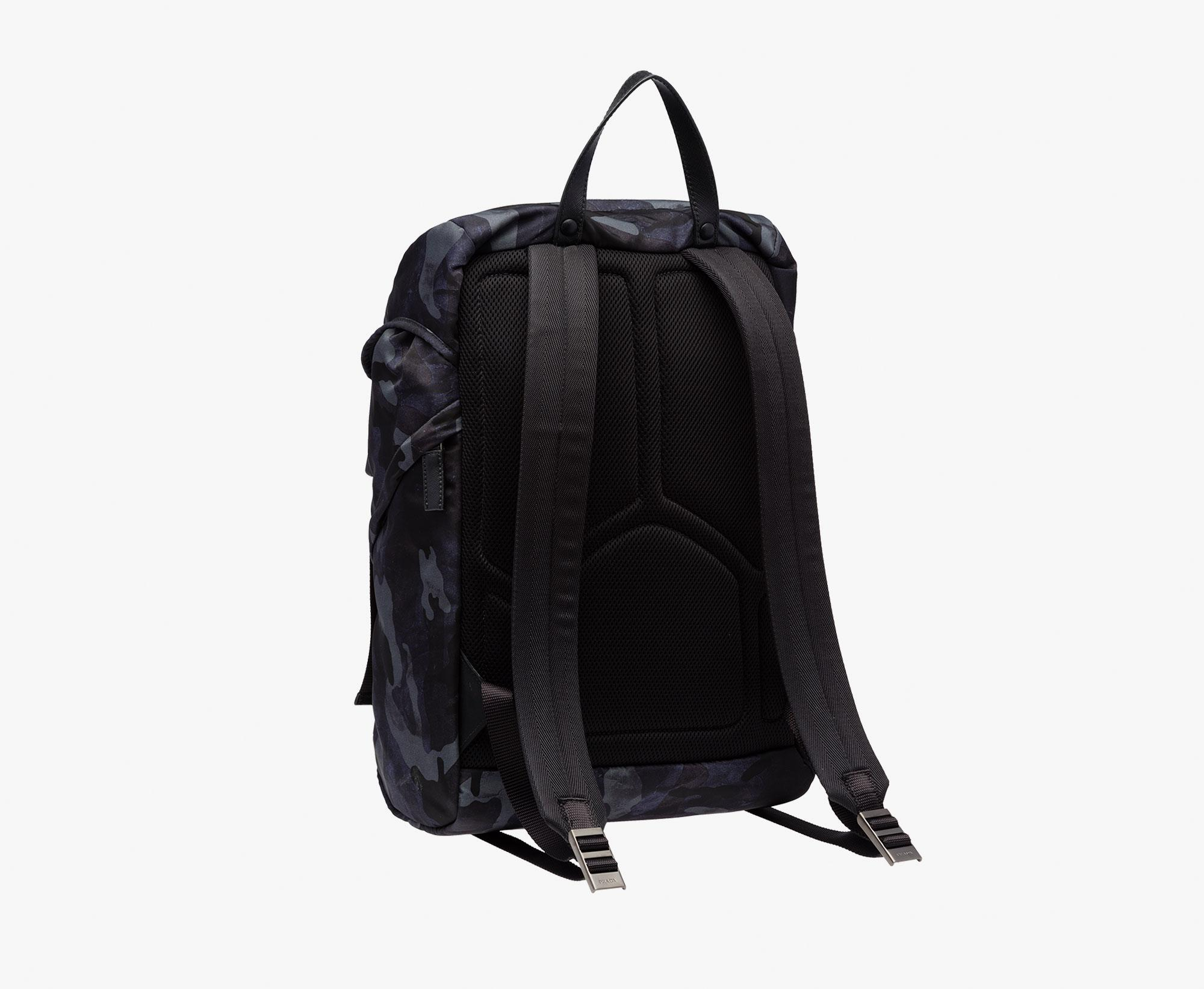 8ca9d6fe1de8 uk prada black camouflage nylon drawstring tote bag 054a4 90704; low cost lyst  prada fabric backpack in blue for men 80d6e 3a057