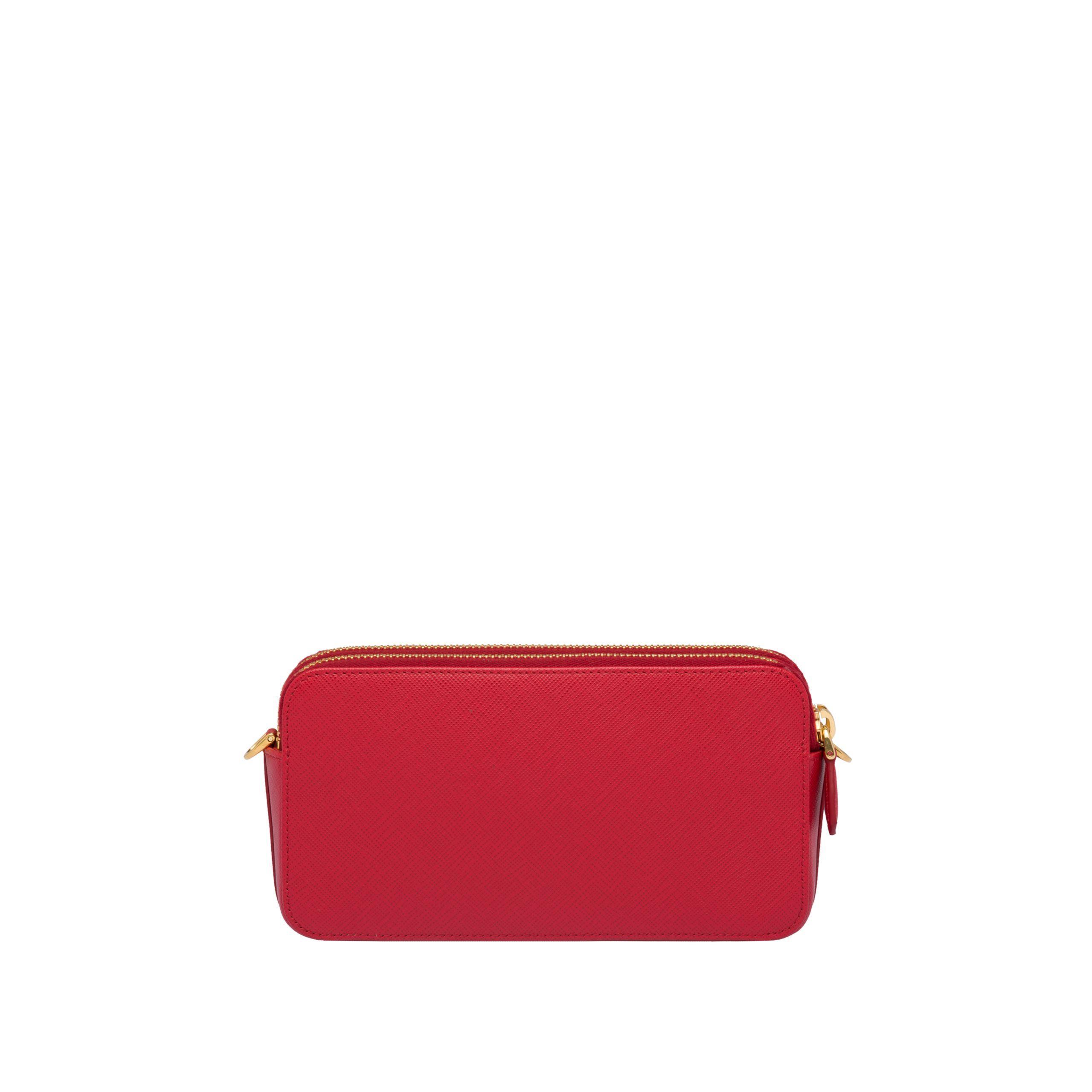 2186e56eca7d Prada - Red Saffiano Leather Mini Shoulder Bag - Lyst. View fullscreen