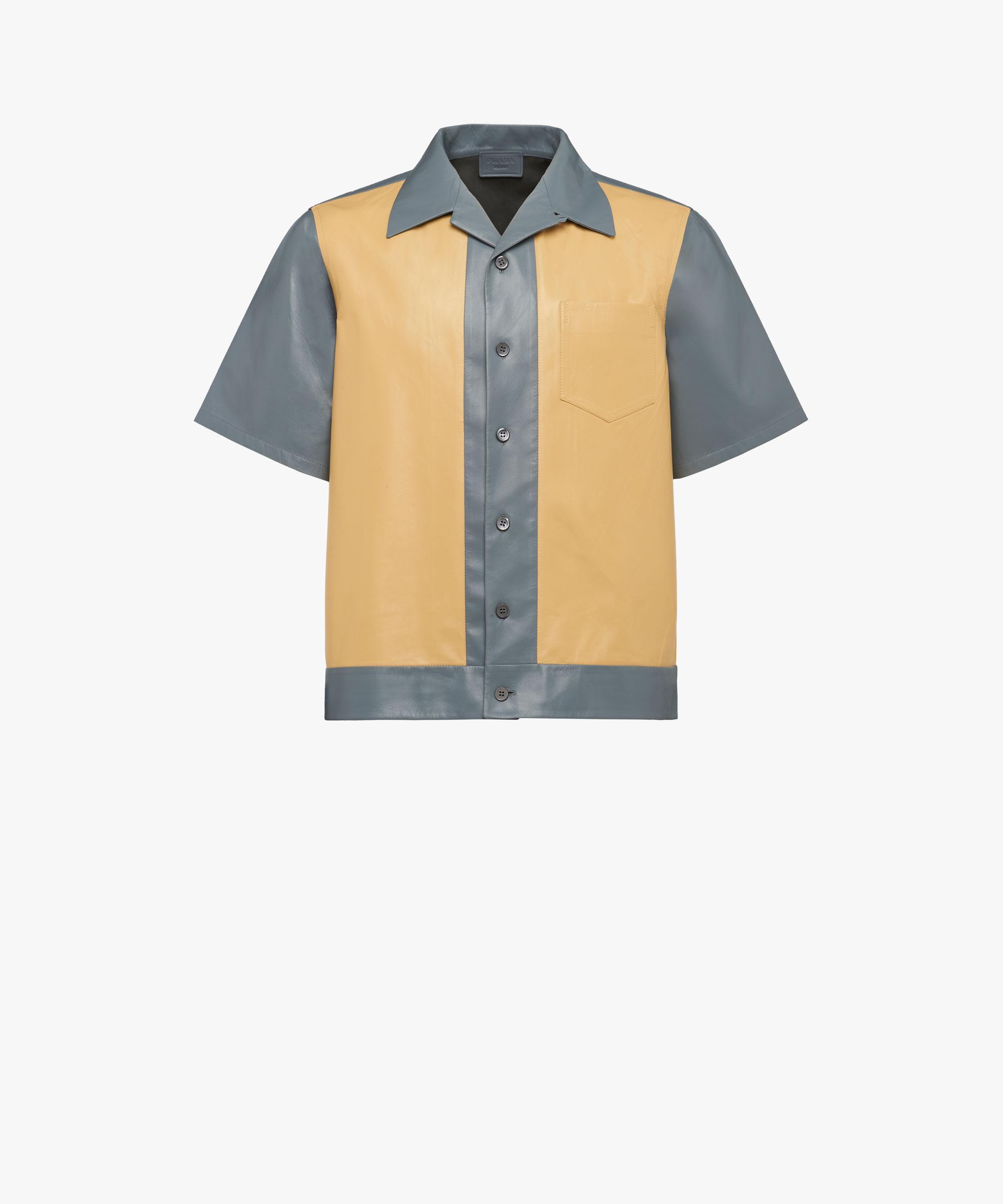 ff37c93f Men's Blue Short-sleeved Leather Shirt