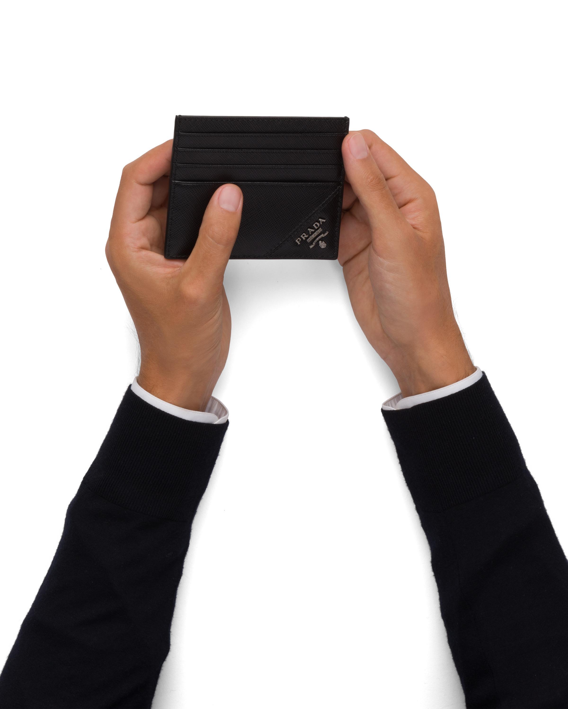 Prada Saffiano Leather Card Holder in Black for Men - Lyst